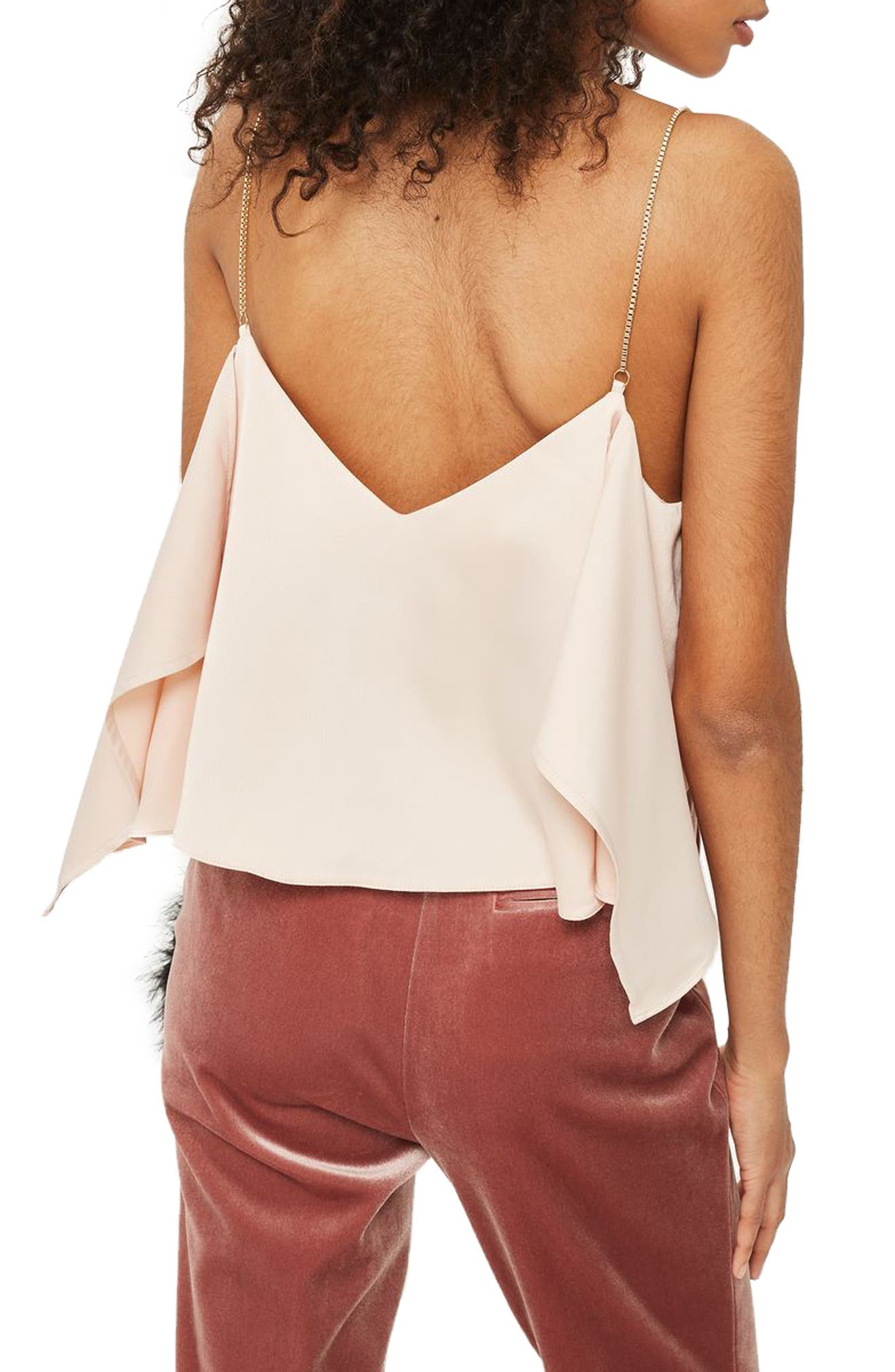 Chain Strap Camisole Top,                             Alternate thumbnail 3, color,                             Nude