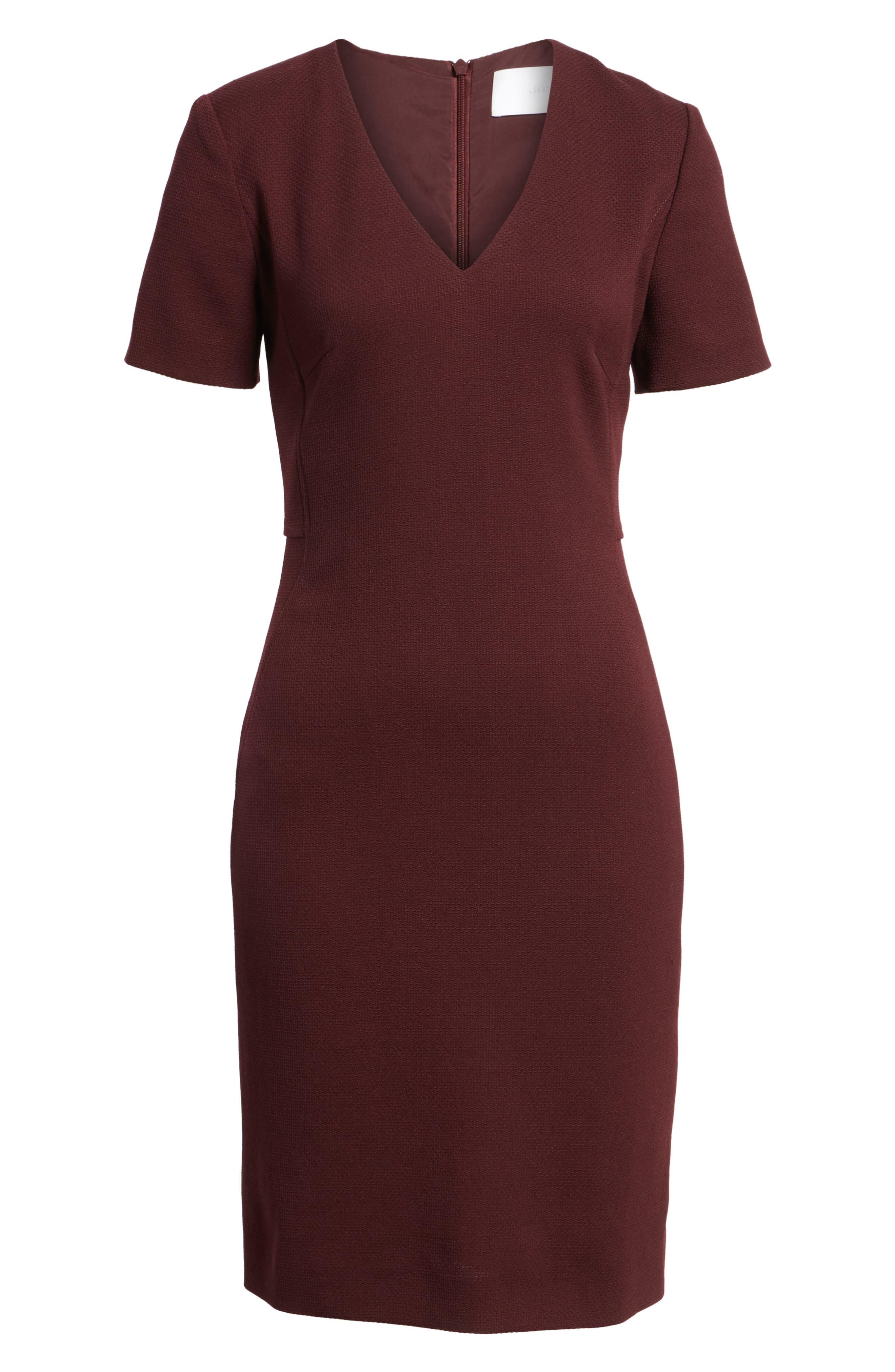 Domandia Stretch Wool Sheath Dress,                             Alternate thumbnail 6, color,                             Mulberry
