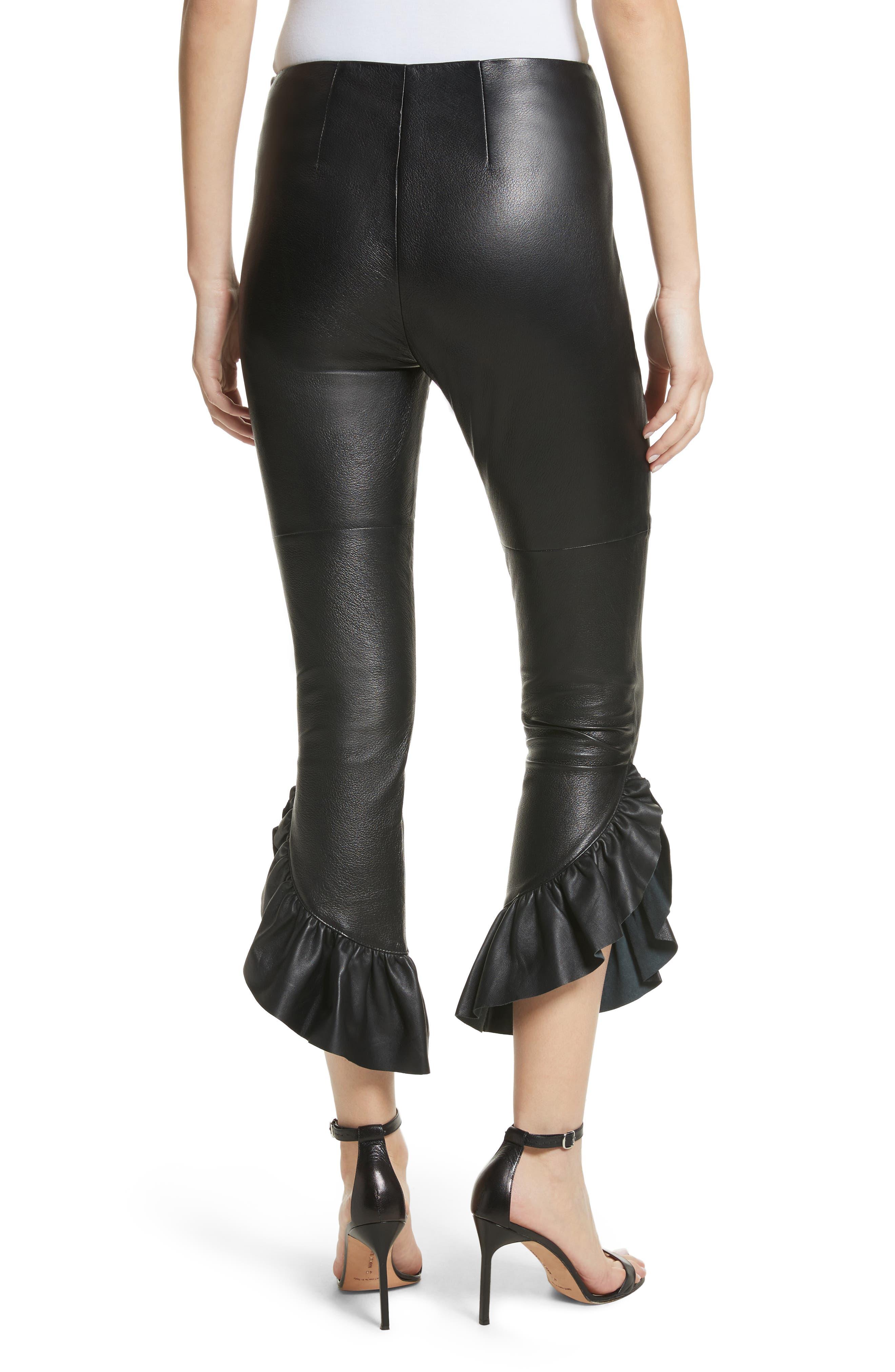 Gionata Ruffle Hem Leather Pants,                             Alternate thumbnail 2, color,                             Black
