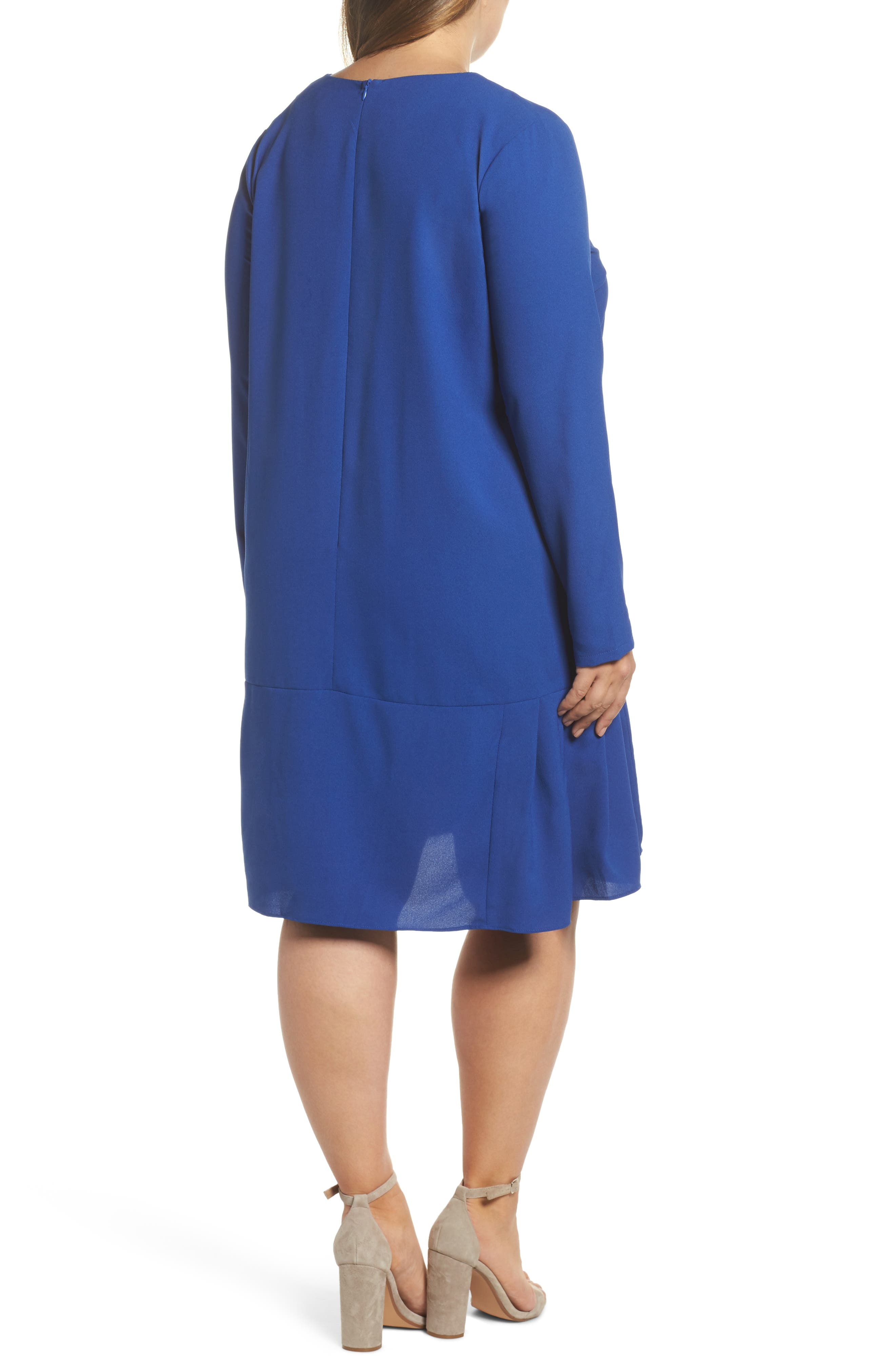 Long Sleeve Shift Dress,                             Alternate thumbnail 2, color,                             Cobalt