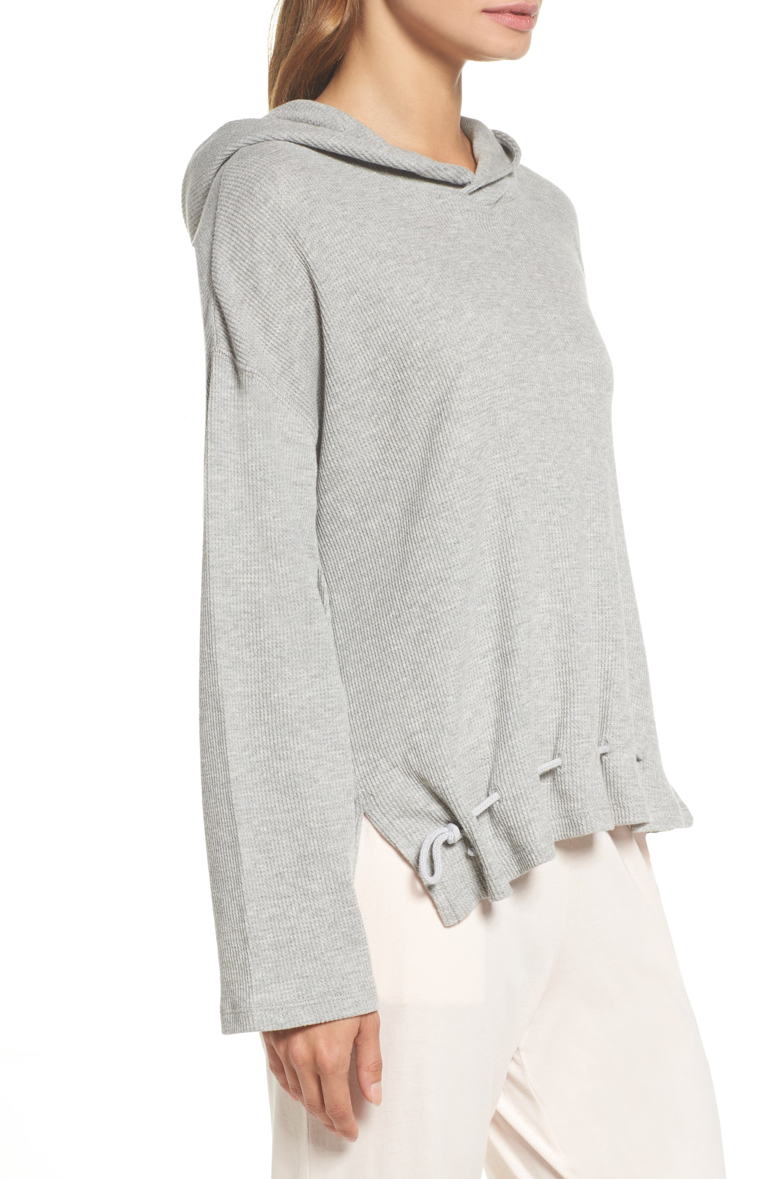 Thermal Hooded Top,                             Alternate thumbnail 3, color,                             Heather Grey