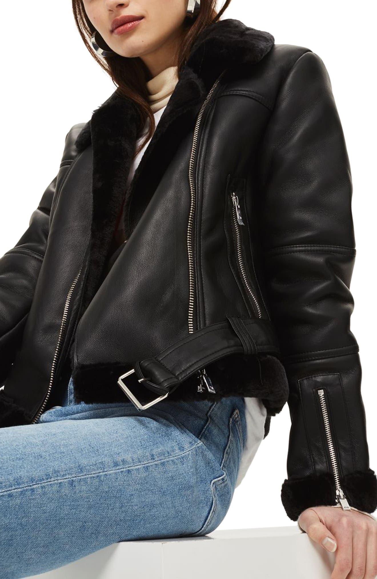 Finsbury Cropped Faux Shearling Biker Jacket,                             Alternate thumbnail 4, color,                             Black