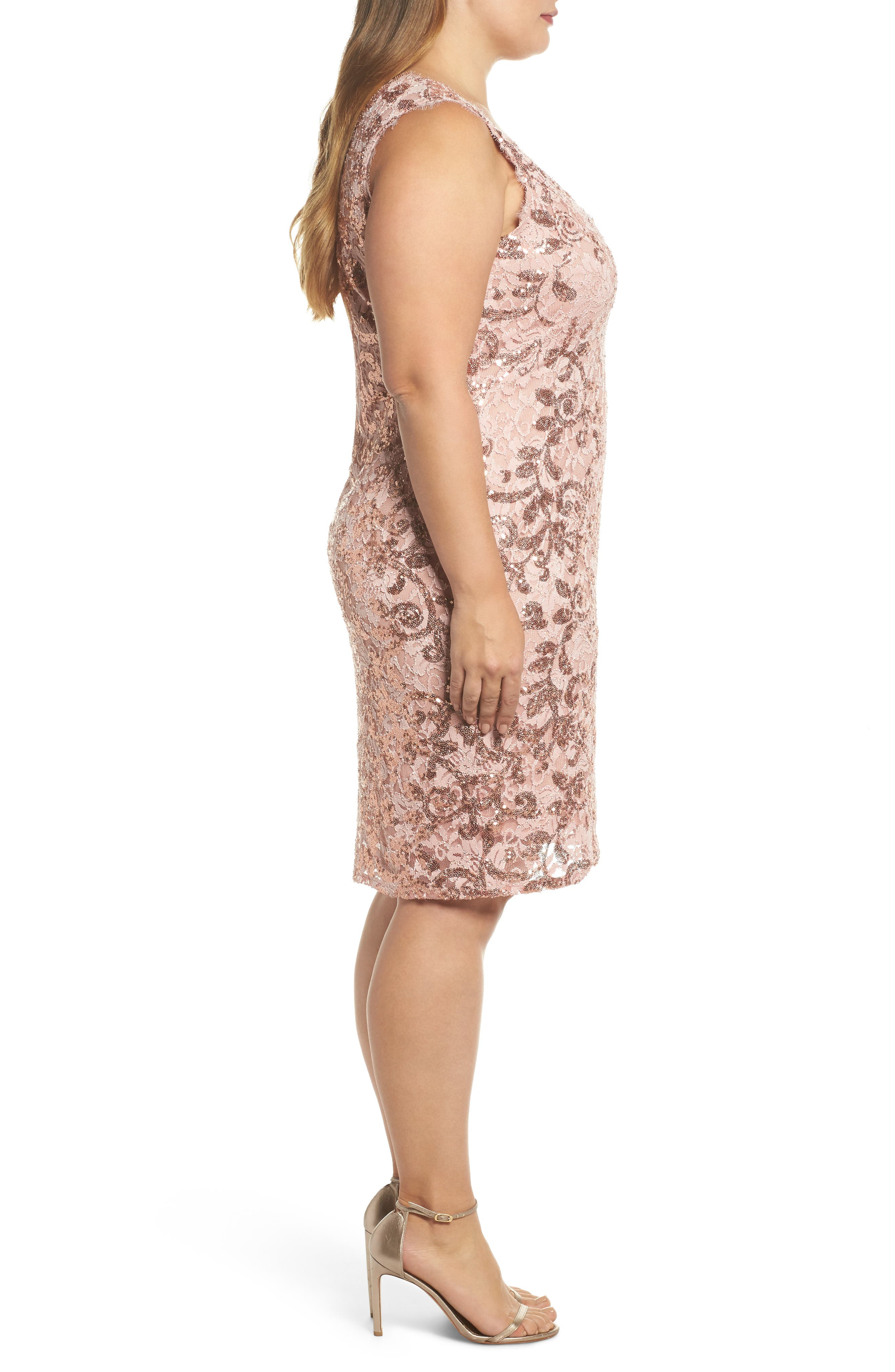 Alternate Image 3  - Marina Sequin Lace Party Dress (Plus Size)