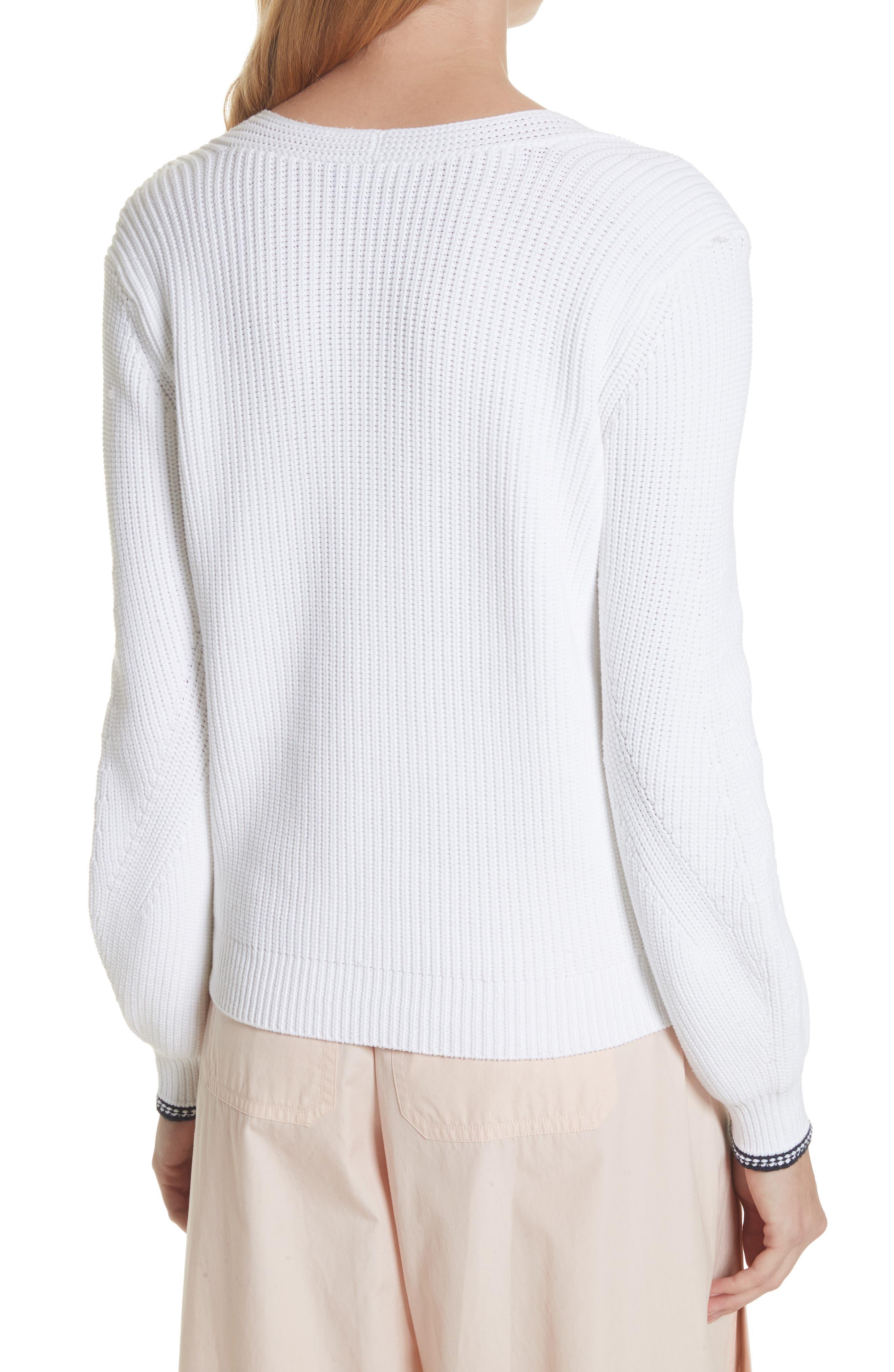 Bishop Sleeve Sweater,                             Alternate thumbnail 2, color,                             Optic White/ Coastal