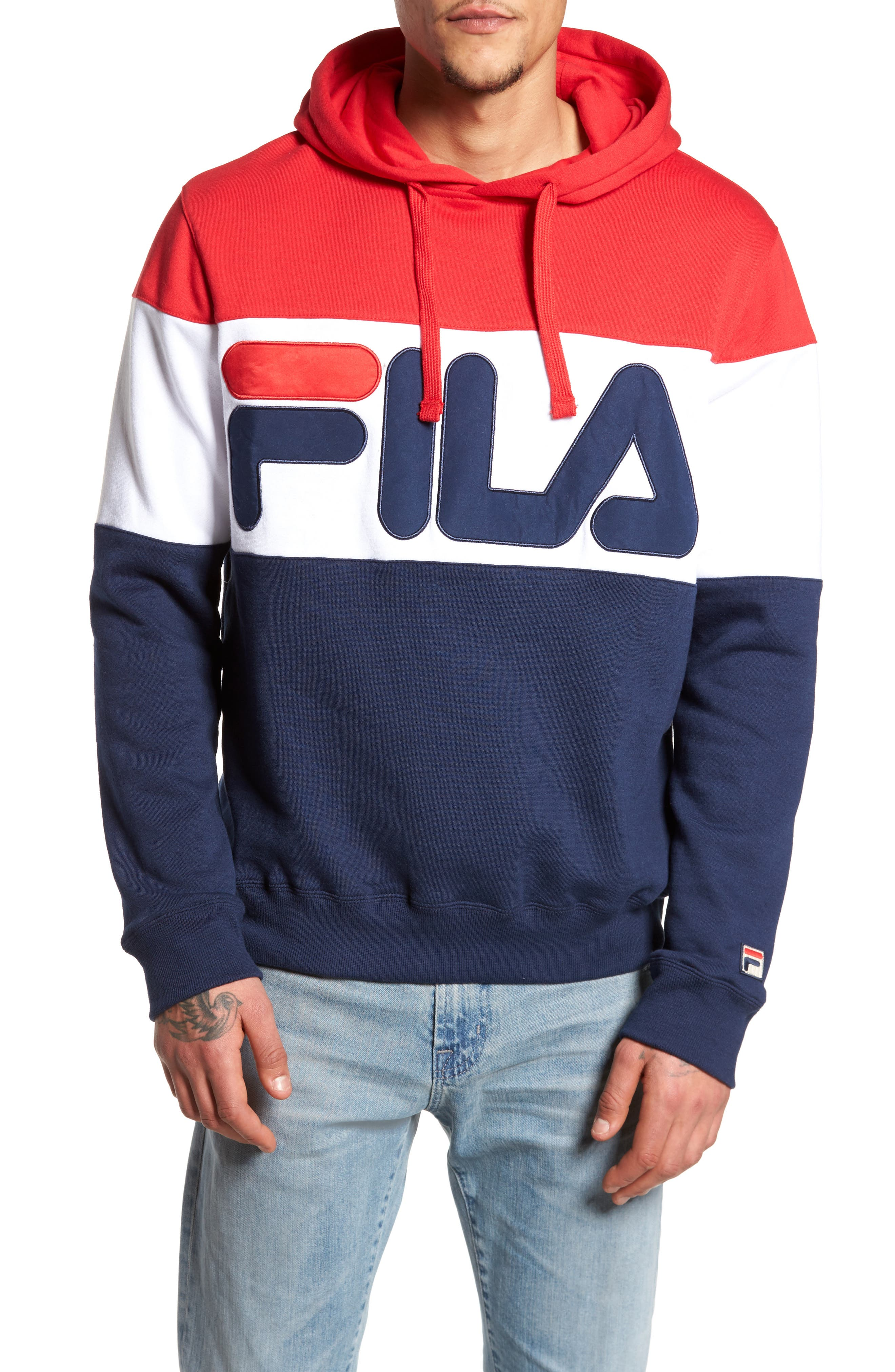 Trayton Hoodie,                         Main,                         color, Chinese Red/ White/ Navy