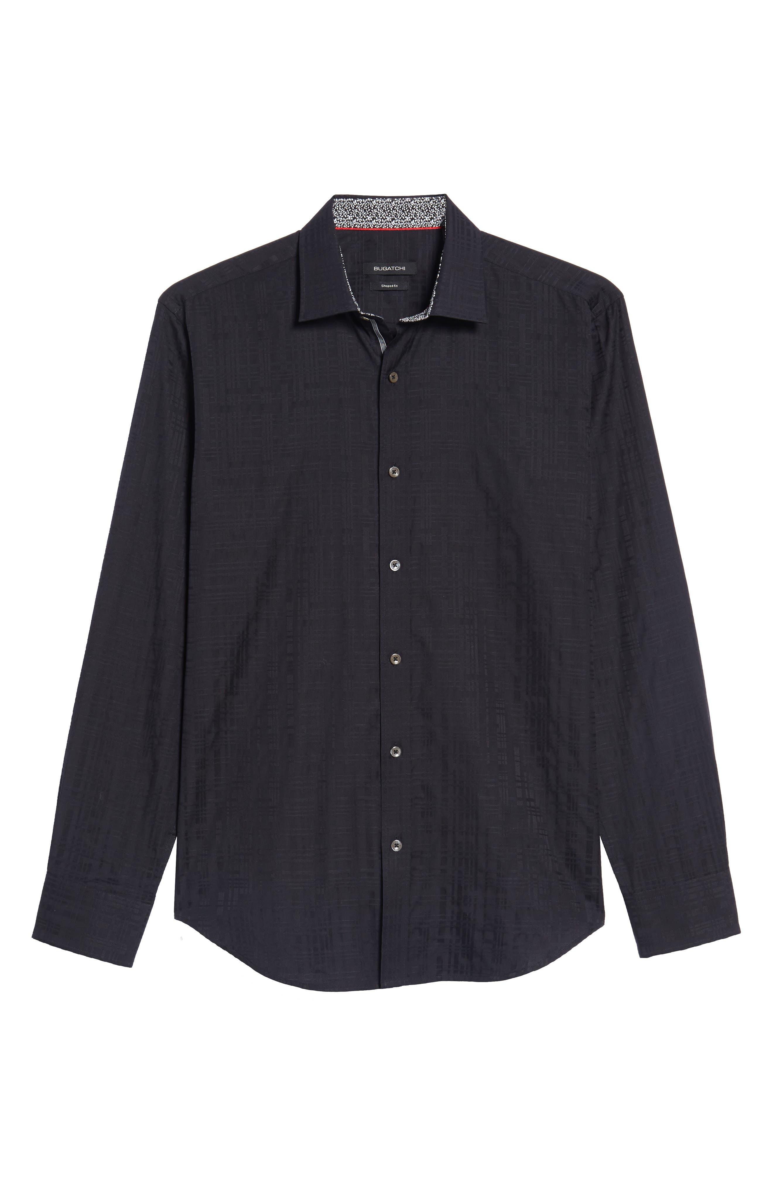 Shaped Fit Tonal Print Sport Shirt,                             Alternate thumbnail 6, color,                             Black