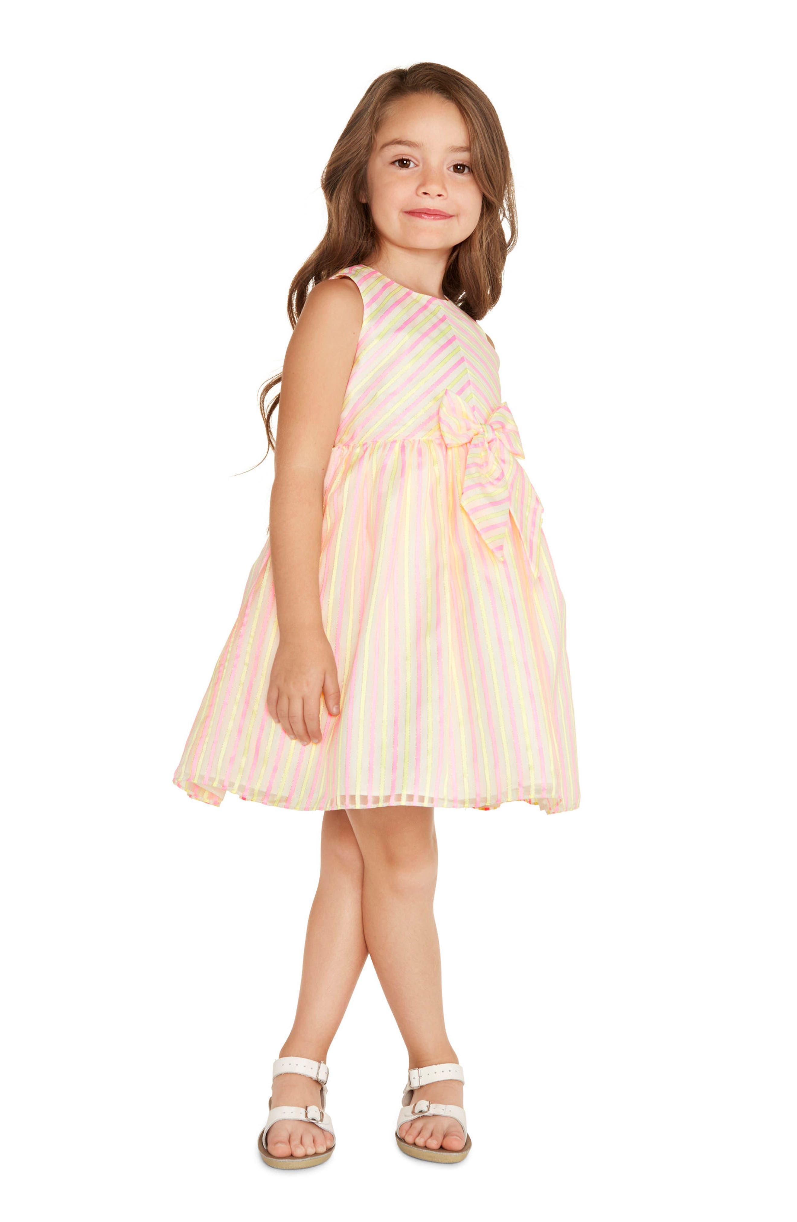 Metallic Stripe Dress,                             Alternate thumbnail 4, color,                             Pink Yellow