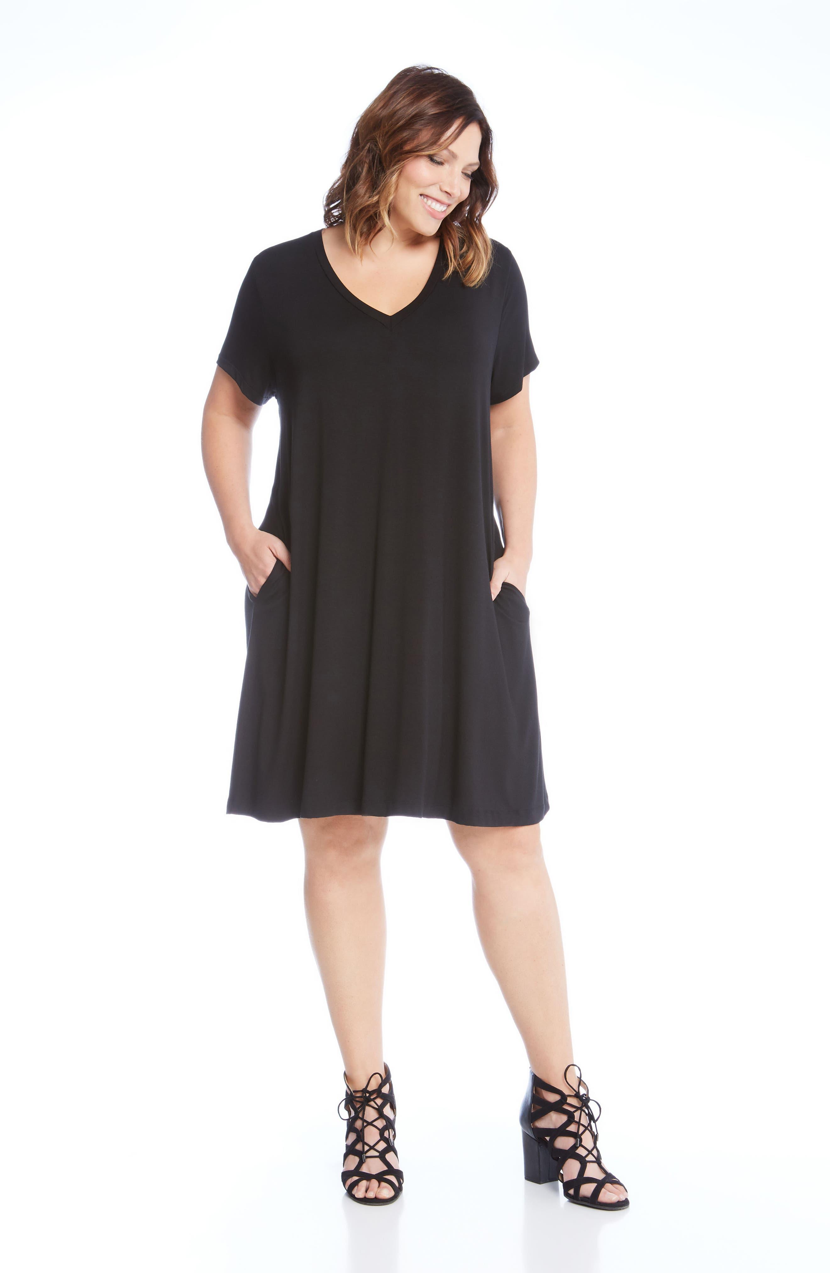 Quinn Pocket Shift Dress,                             Alternate thumbnail 4, color,                             Black