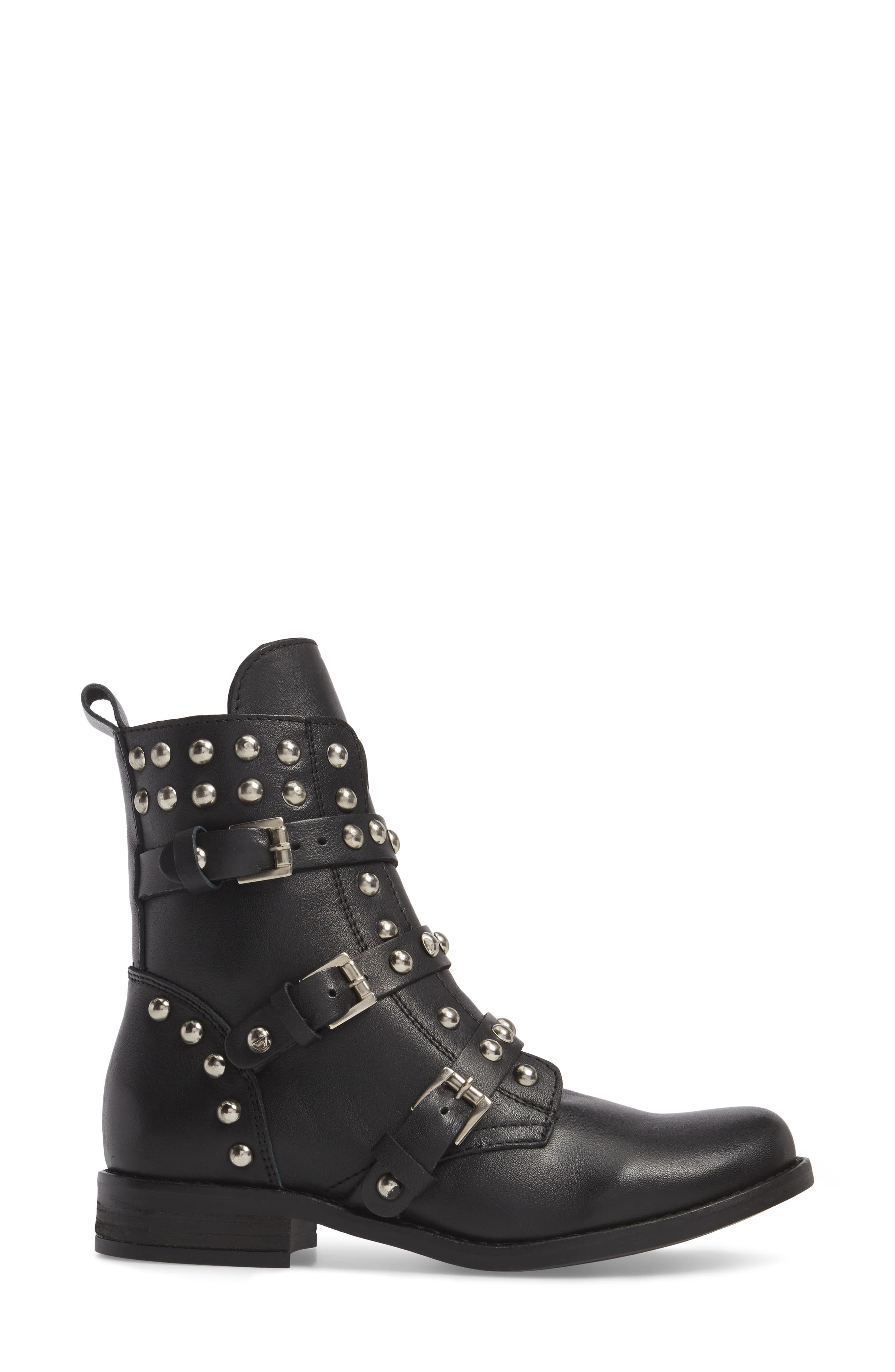 Studded Spunky Boot,                             Alternate thumbnail 3, color,                             Black Leather