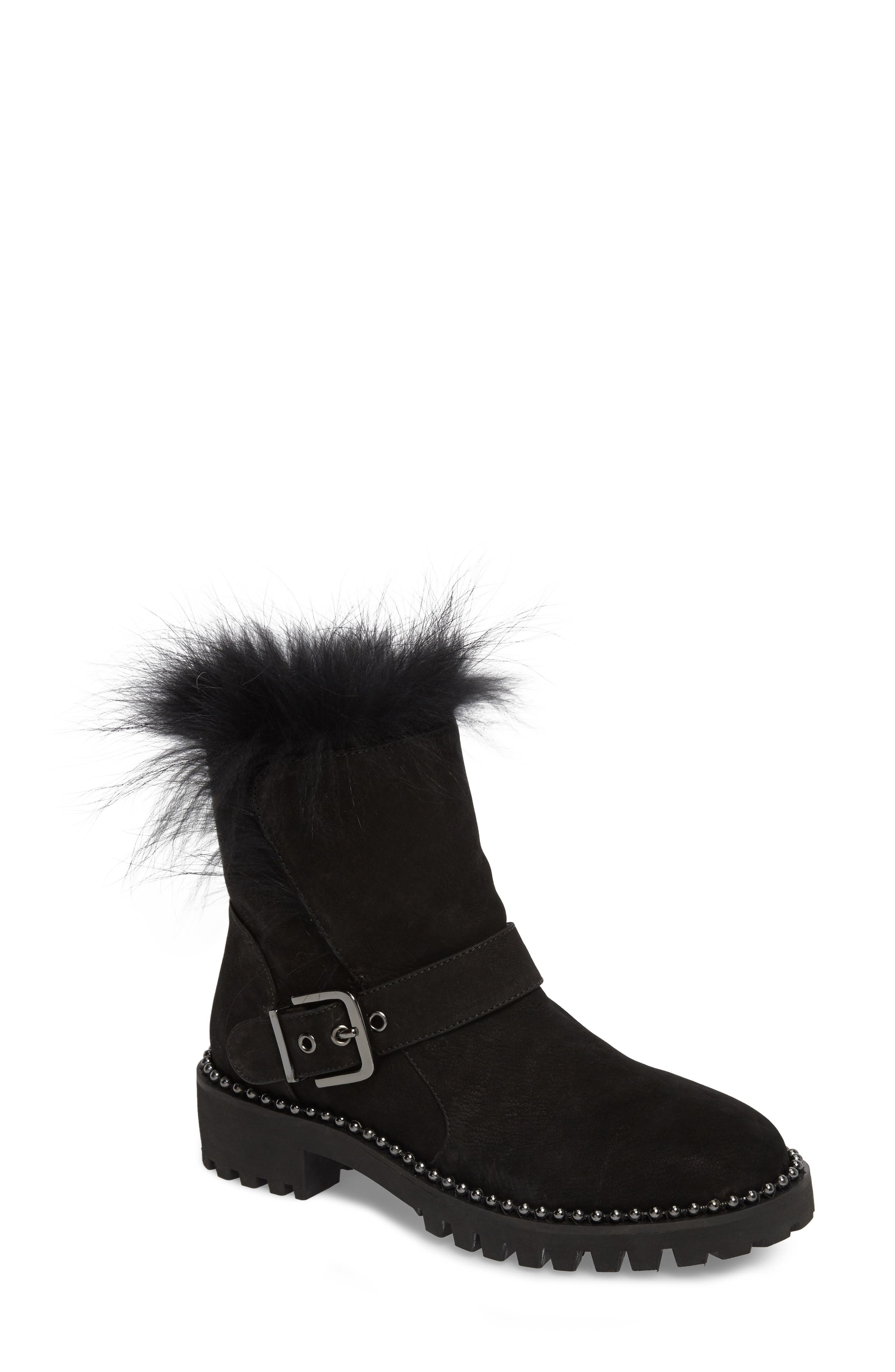 Theresa Boot with Genuine Fox Fur Trim,                         Main,                         color, Black Suede