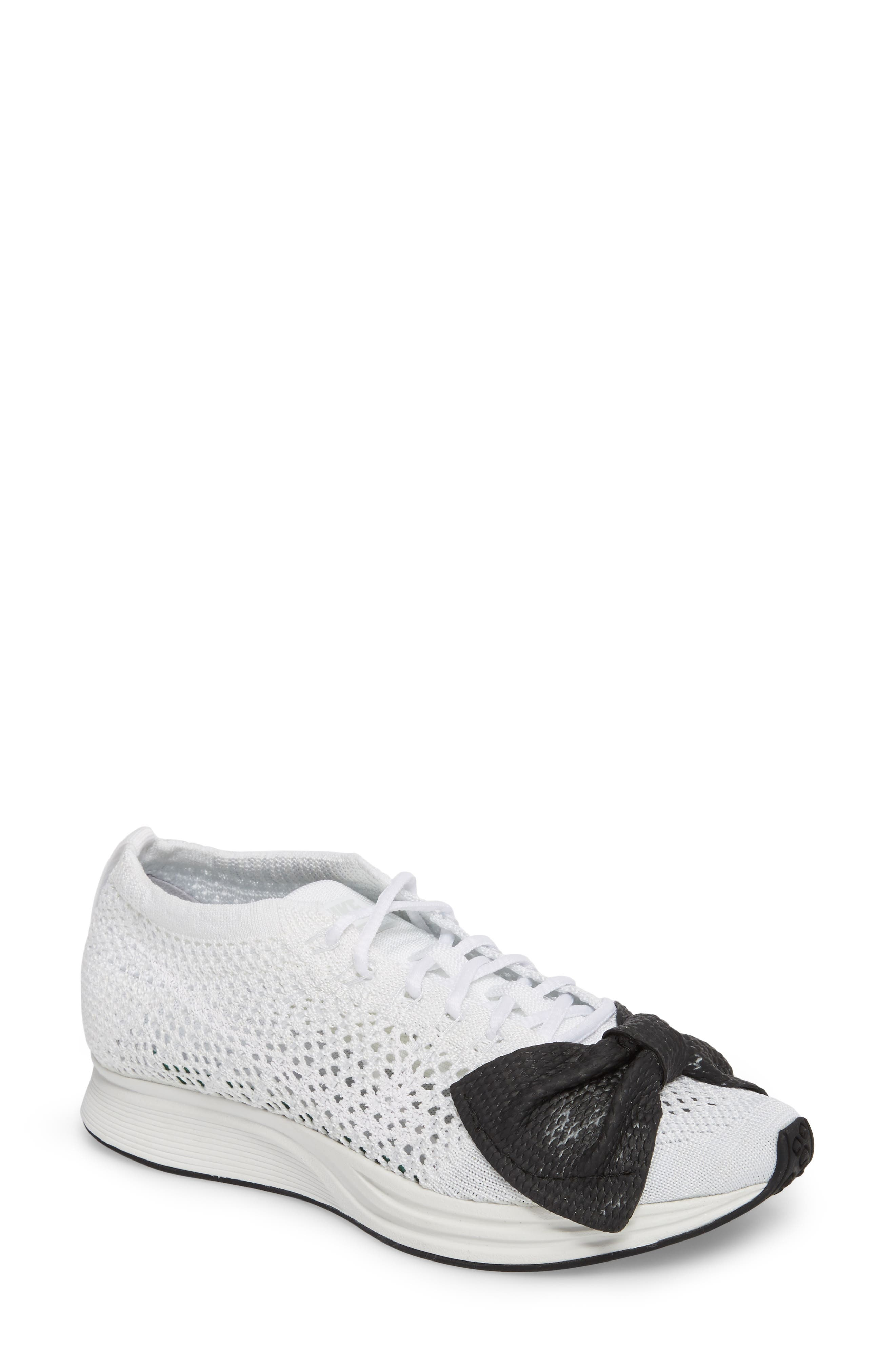 x Nike Bow Flyknit Racer Sneaker,                             Main thumbnail 1, color,                             White