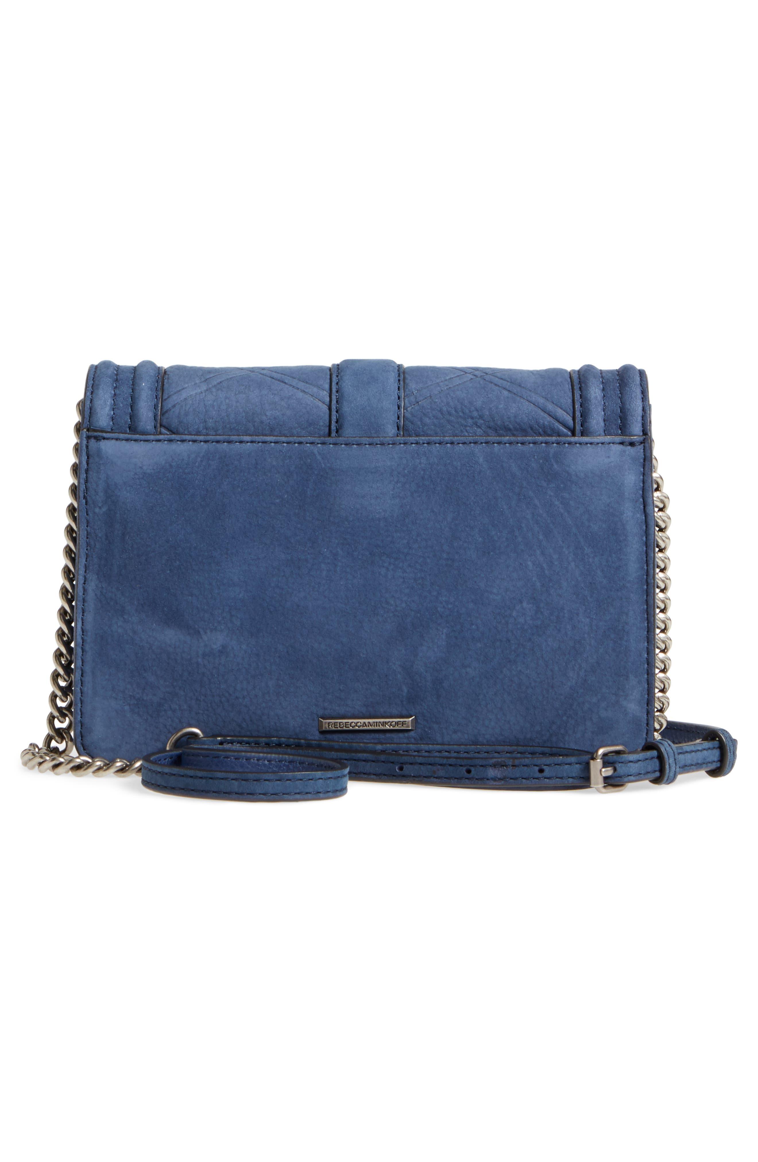 Small Love Nubuck Leather Crossbody Bag,                             Alternate thumbnail 3, color,                             True Navy