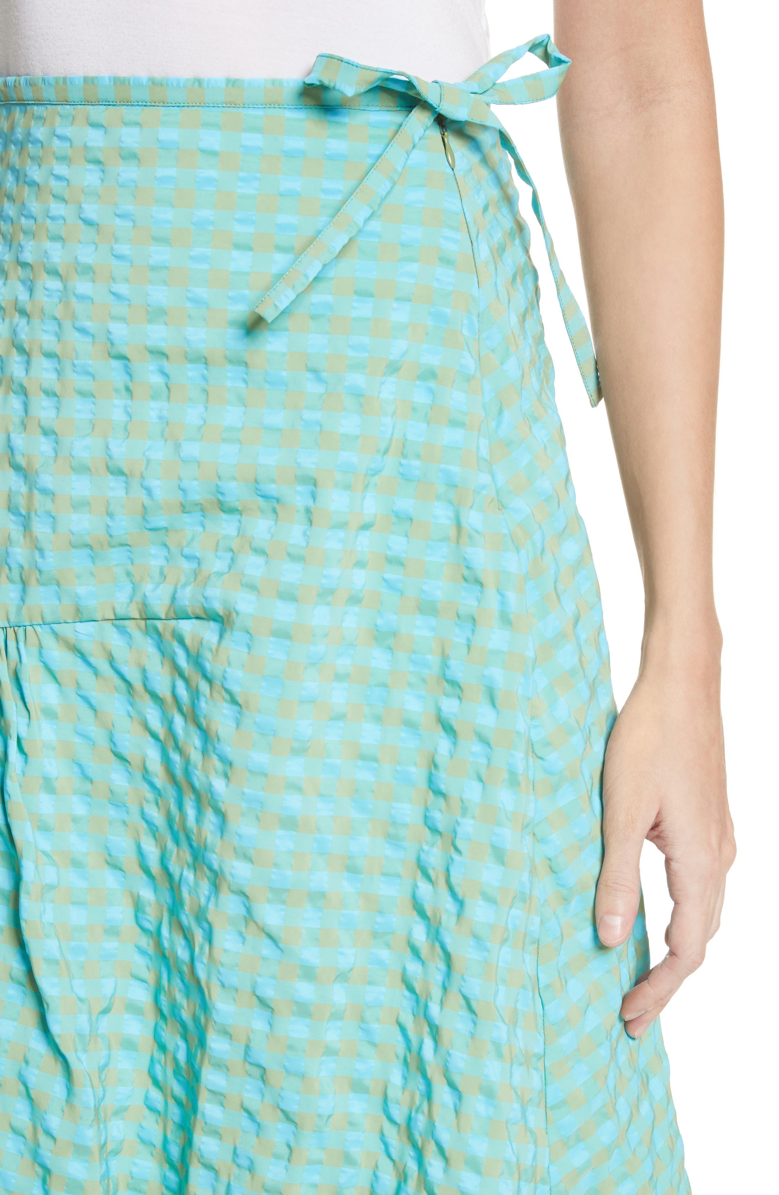Marques'Almeida Long Asymmetrical Frill Skirt,                             Alternate thumbnail 4, color,                             Turquoise Gingham