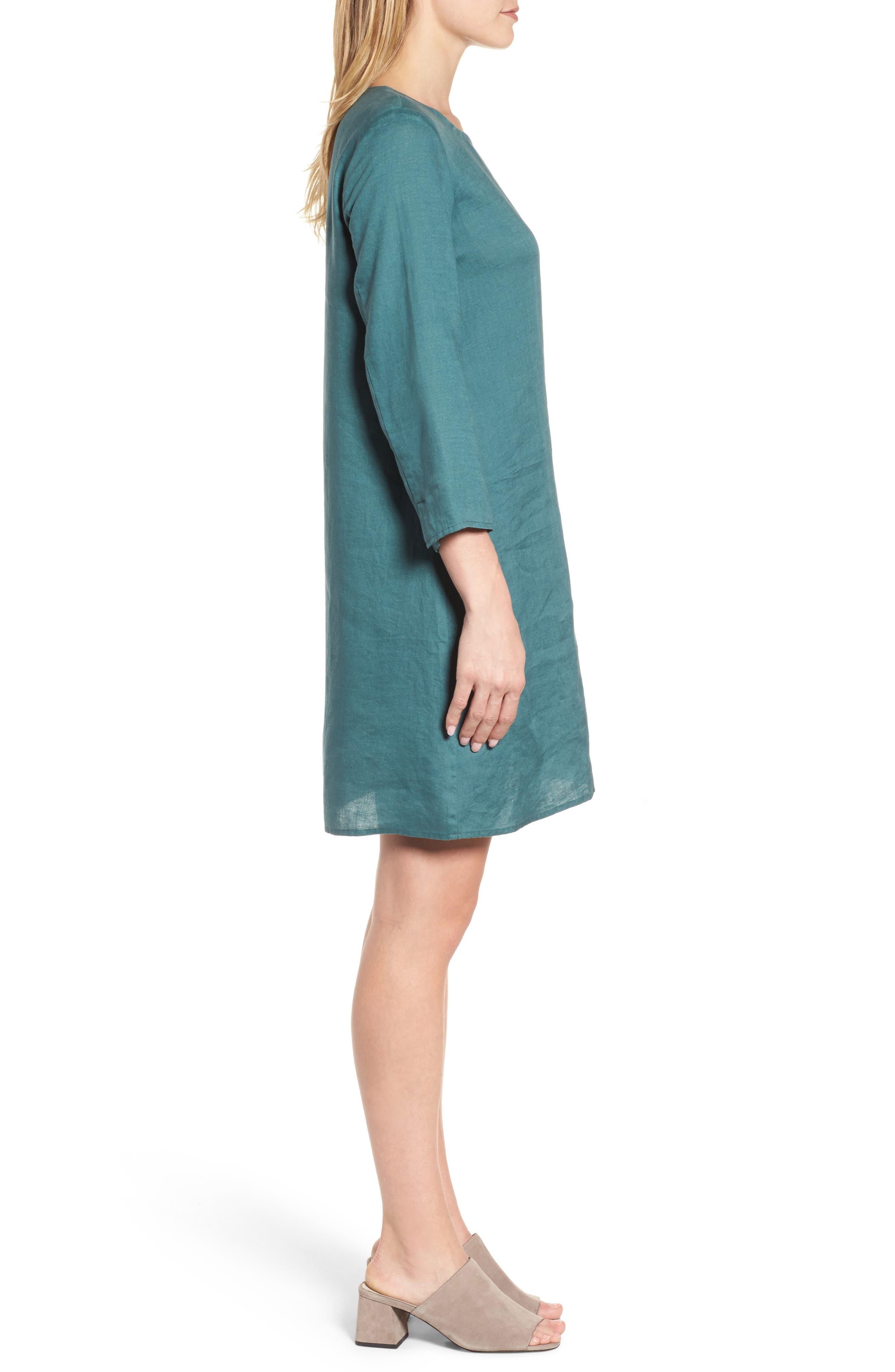 Organic Linen Round Neck Shift Dress,                             Alternate thumbnail 3, color,                             Dragonfly