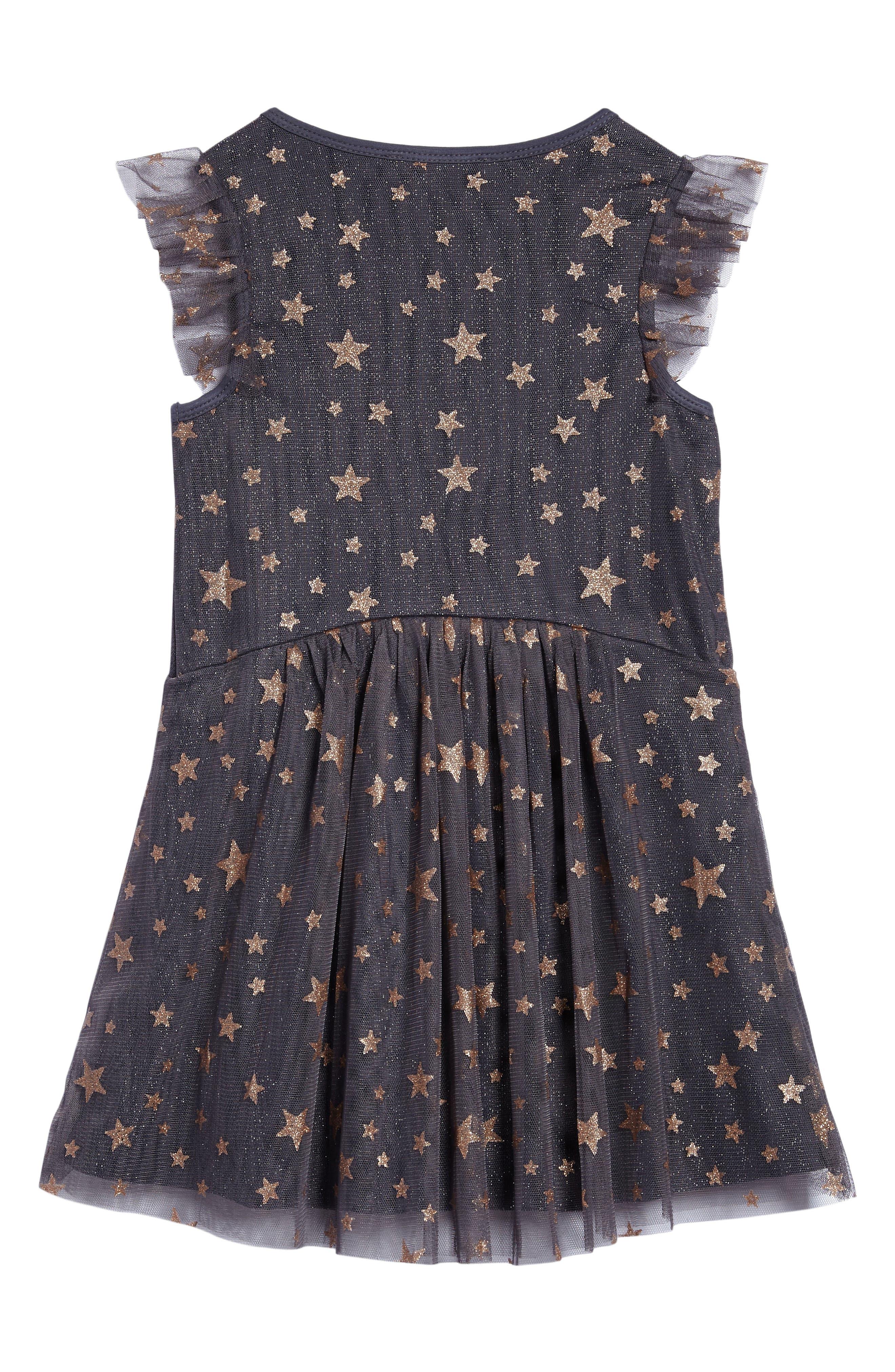 Mesh Star Dress,                             Alternate thumbnail 2, color,                             Char/ Gold