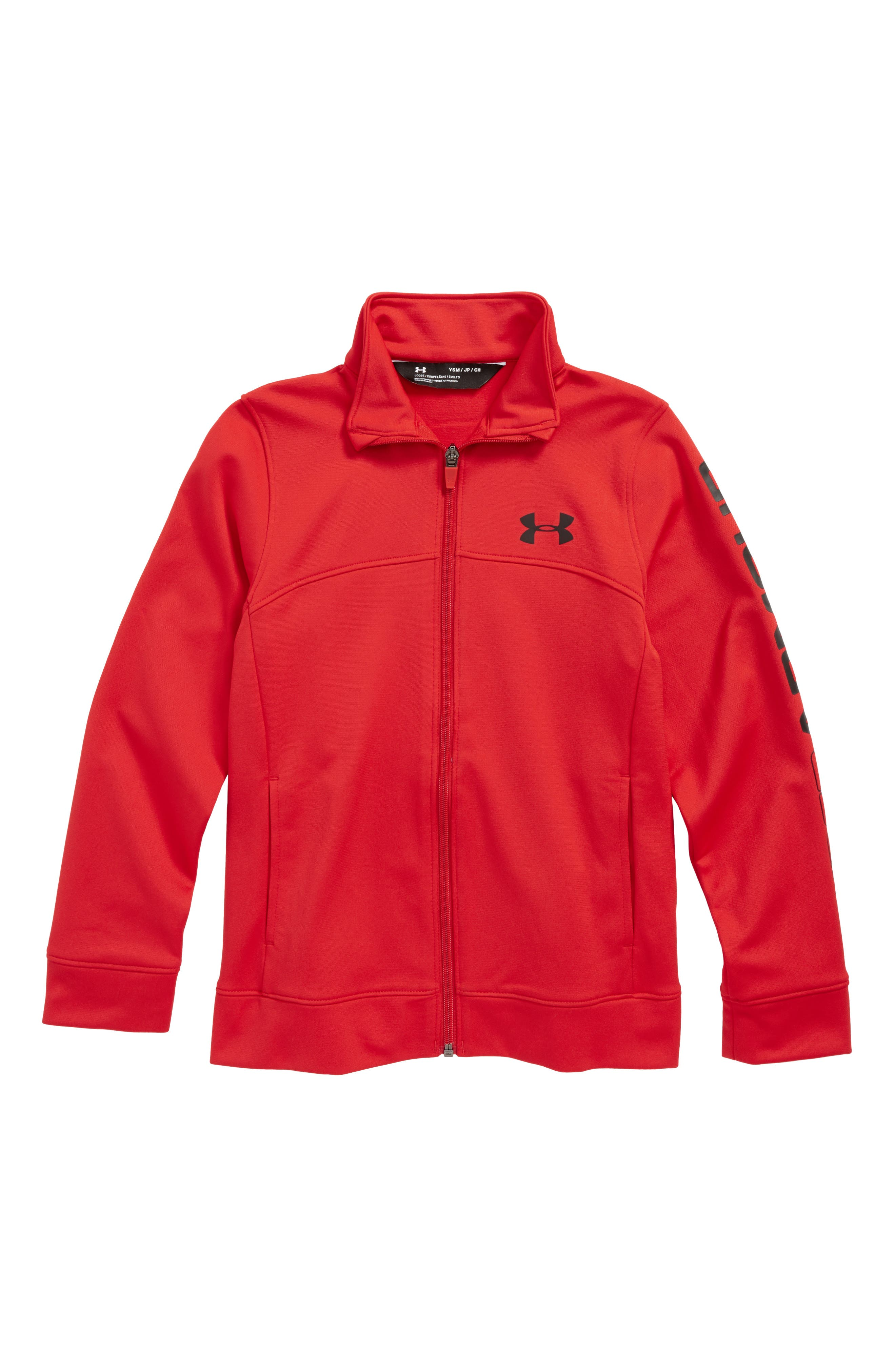 'Pennant' Warm Up Jacket,                             Main thumbnail 1, color,                             Red/ Black
