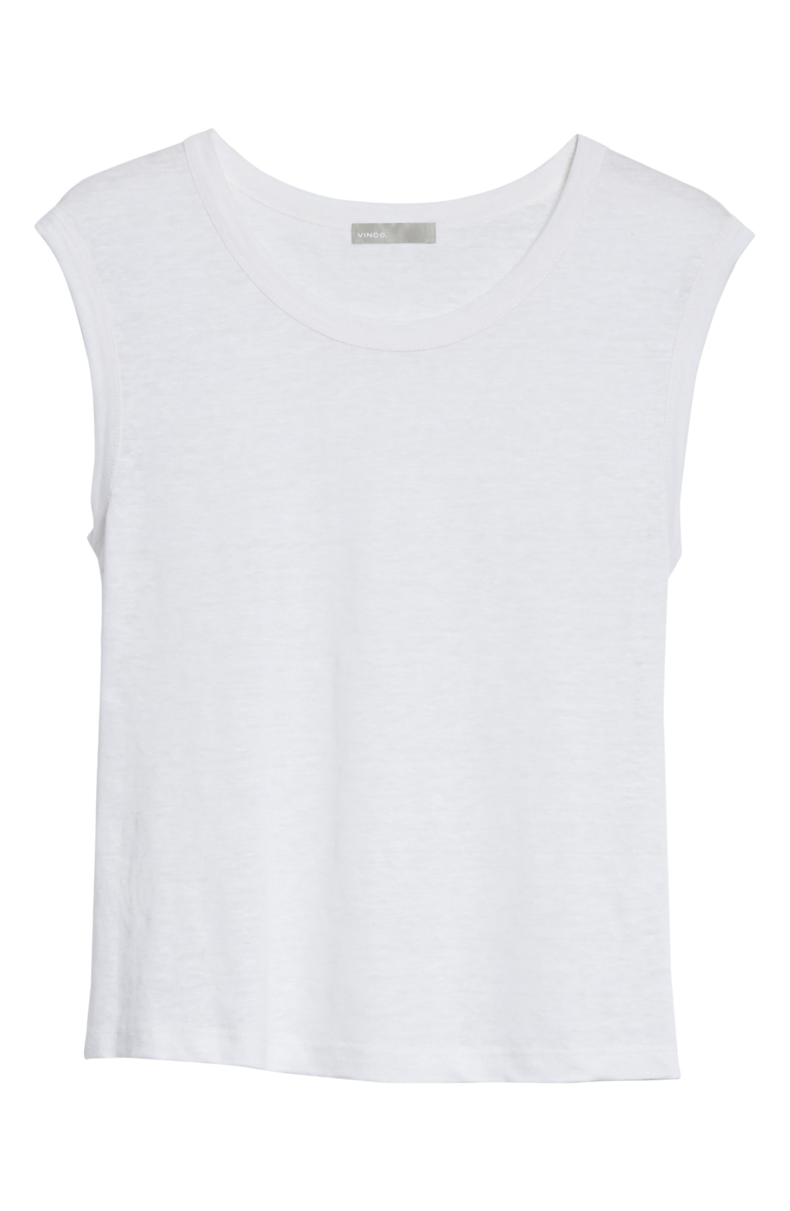 Linen Muscle Tank Top,                             Alternate thumbnail 6, color,                             Optic White