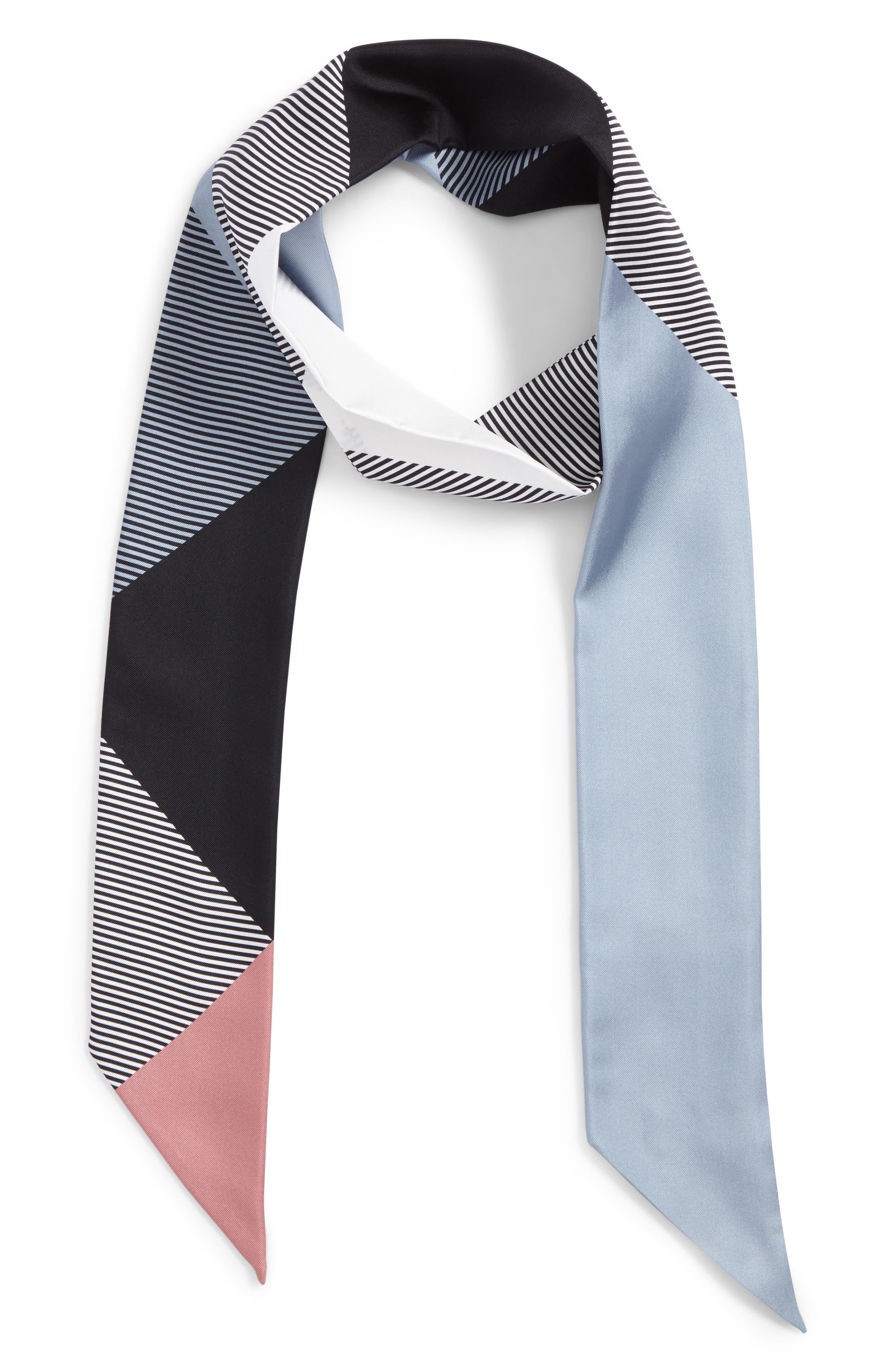 Mega Check Silk Skinny Scarf,                         Main,                         color, Pale Bluebell