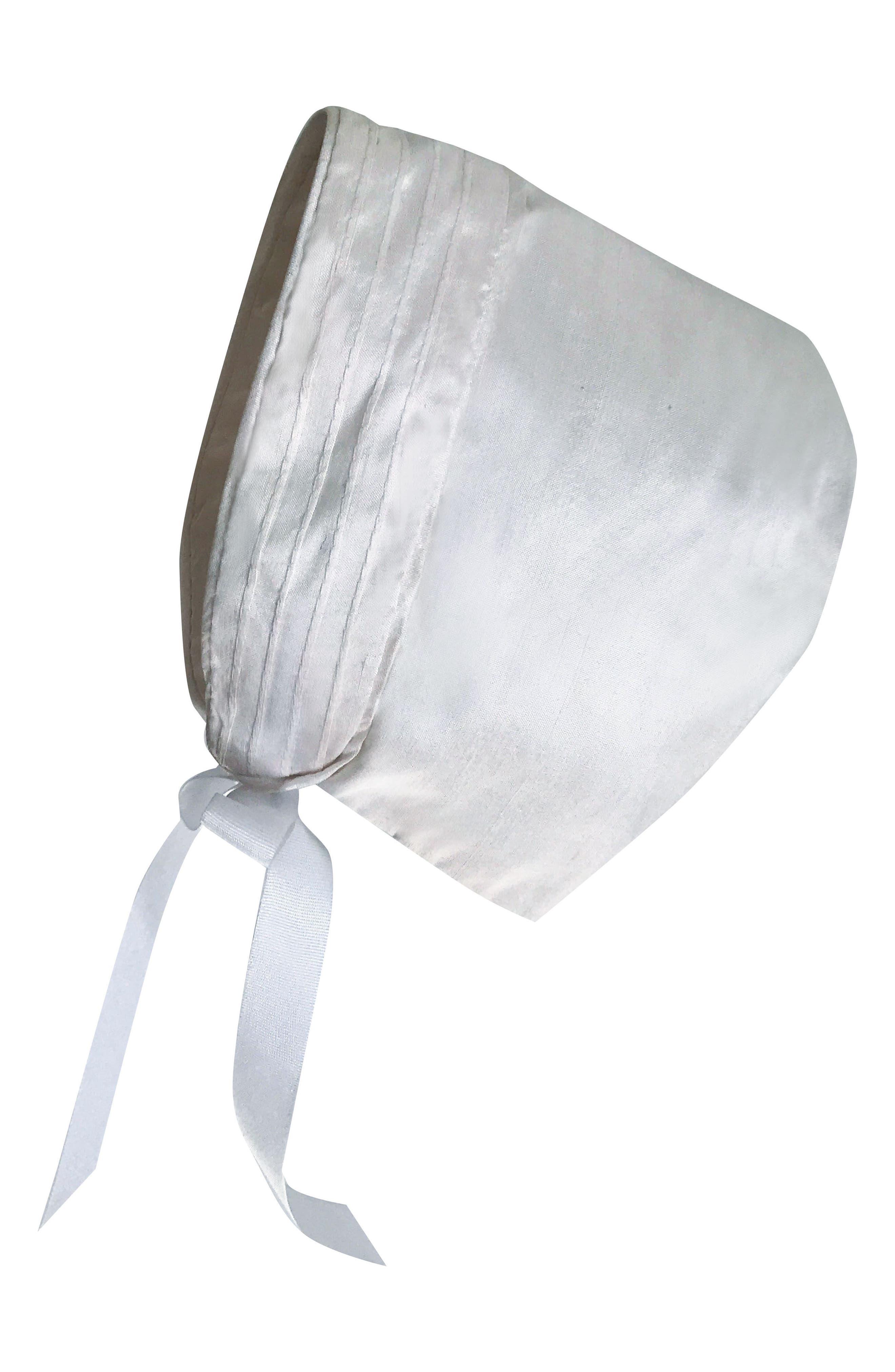 Tucked Silk Romper & Bonnet,                             Alternate thumbnail 3, color,                             White