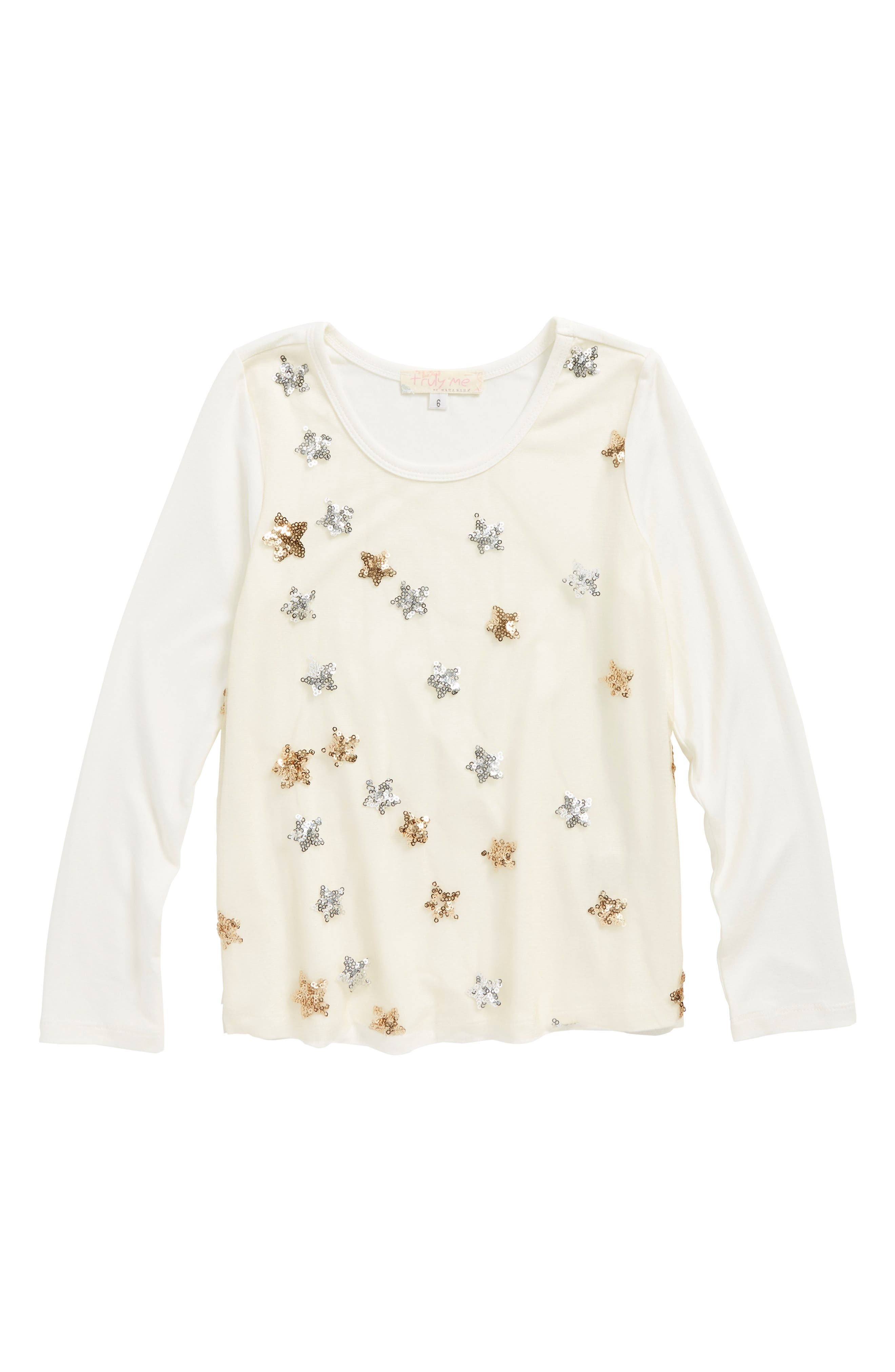 Sequin Star Tunic,                         Main,                         color, Cream