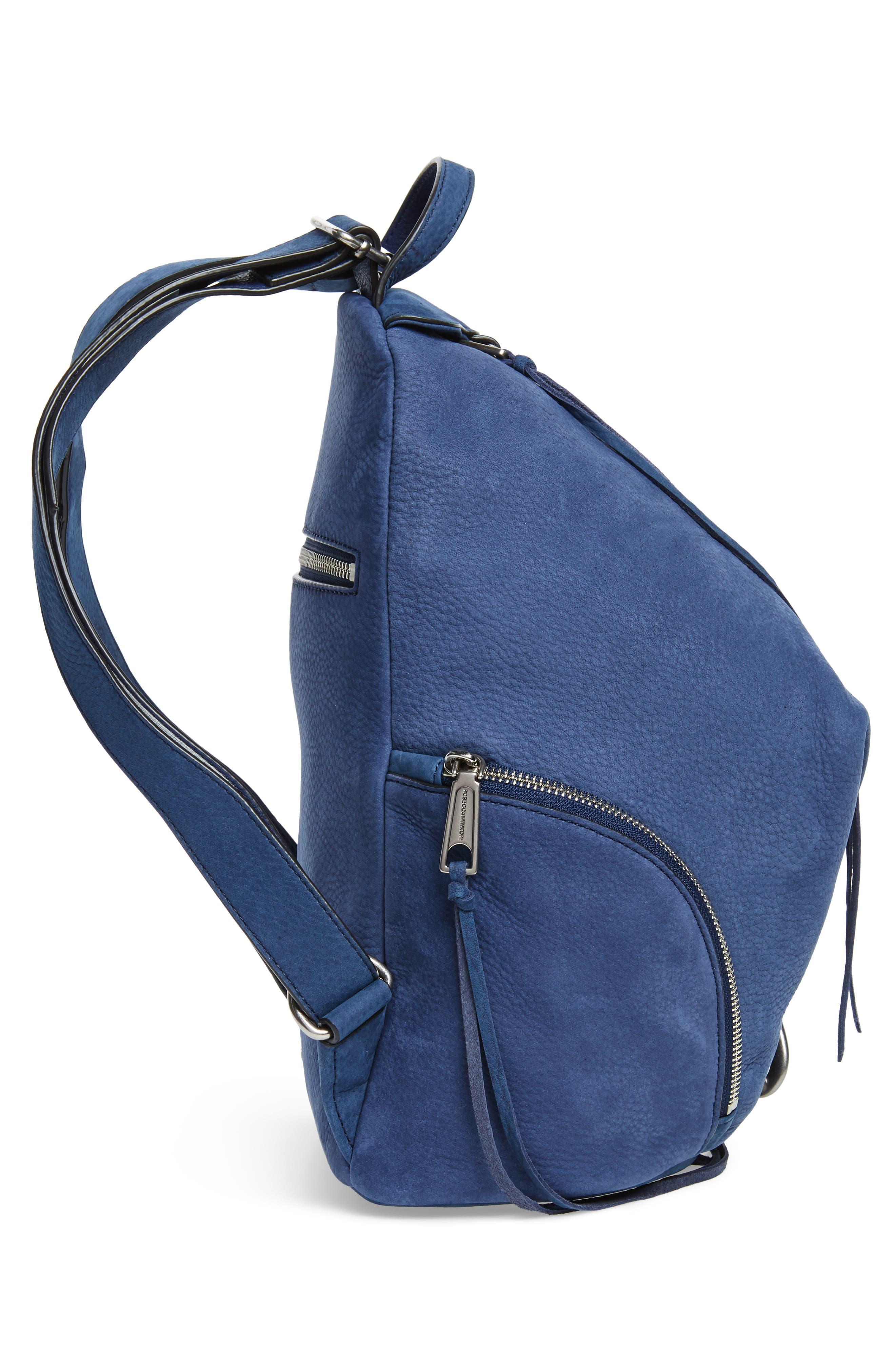Julian Convertible Nubuck Leather Backpack,                             Alternate thumbnail 5, color,                             True Navy