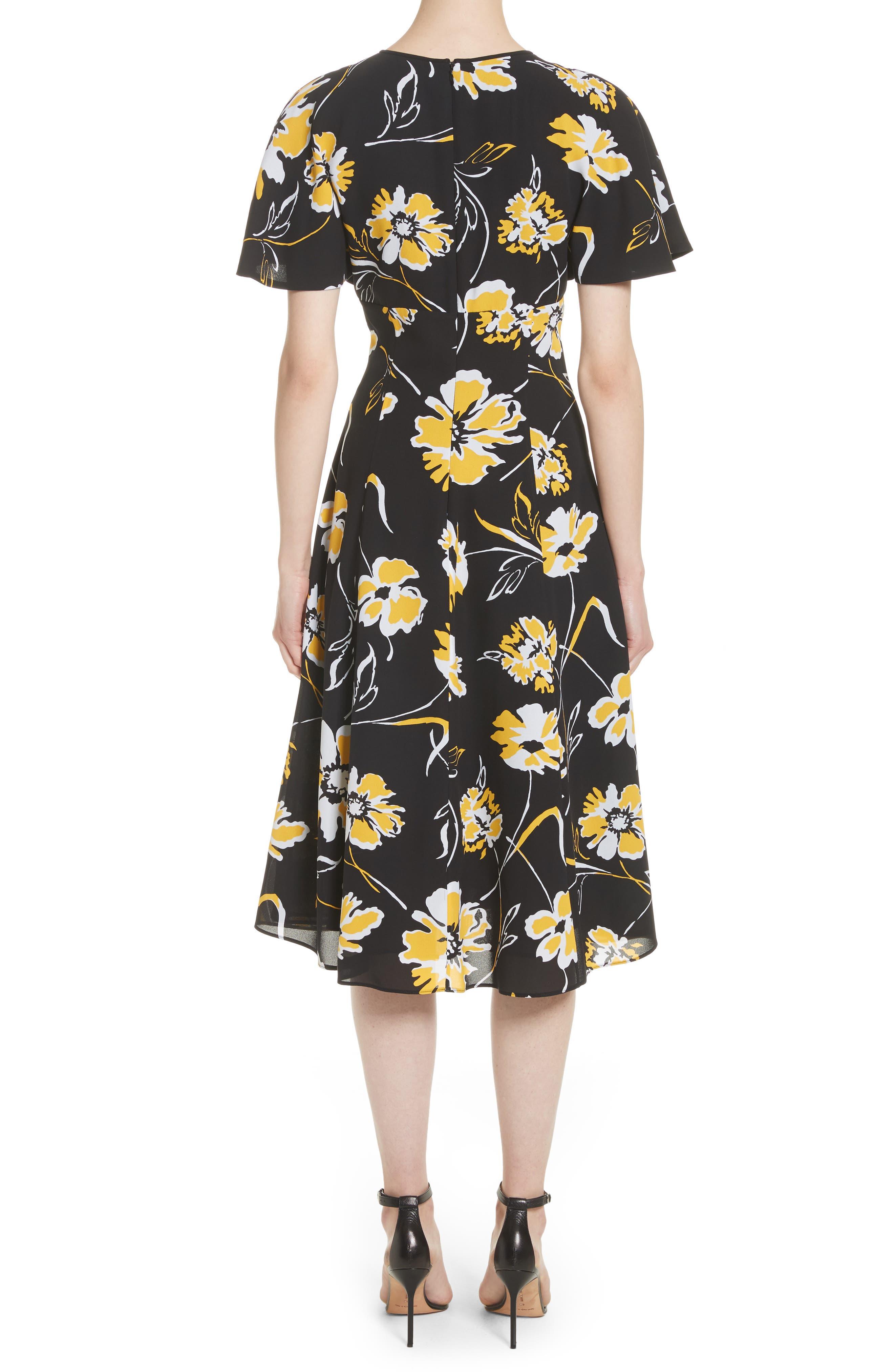 Floral Print Silk Flirt Dress,                             Alternate thumbnail 2, color,                             Lemon