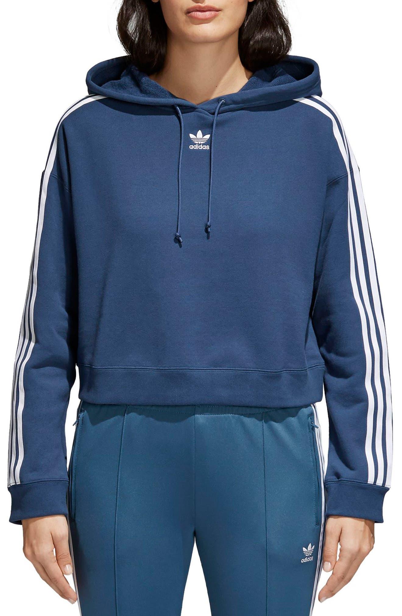 Crop Hoodie,                         Main,                         color, Mineral Blue