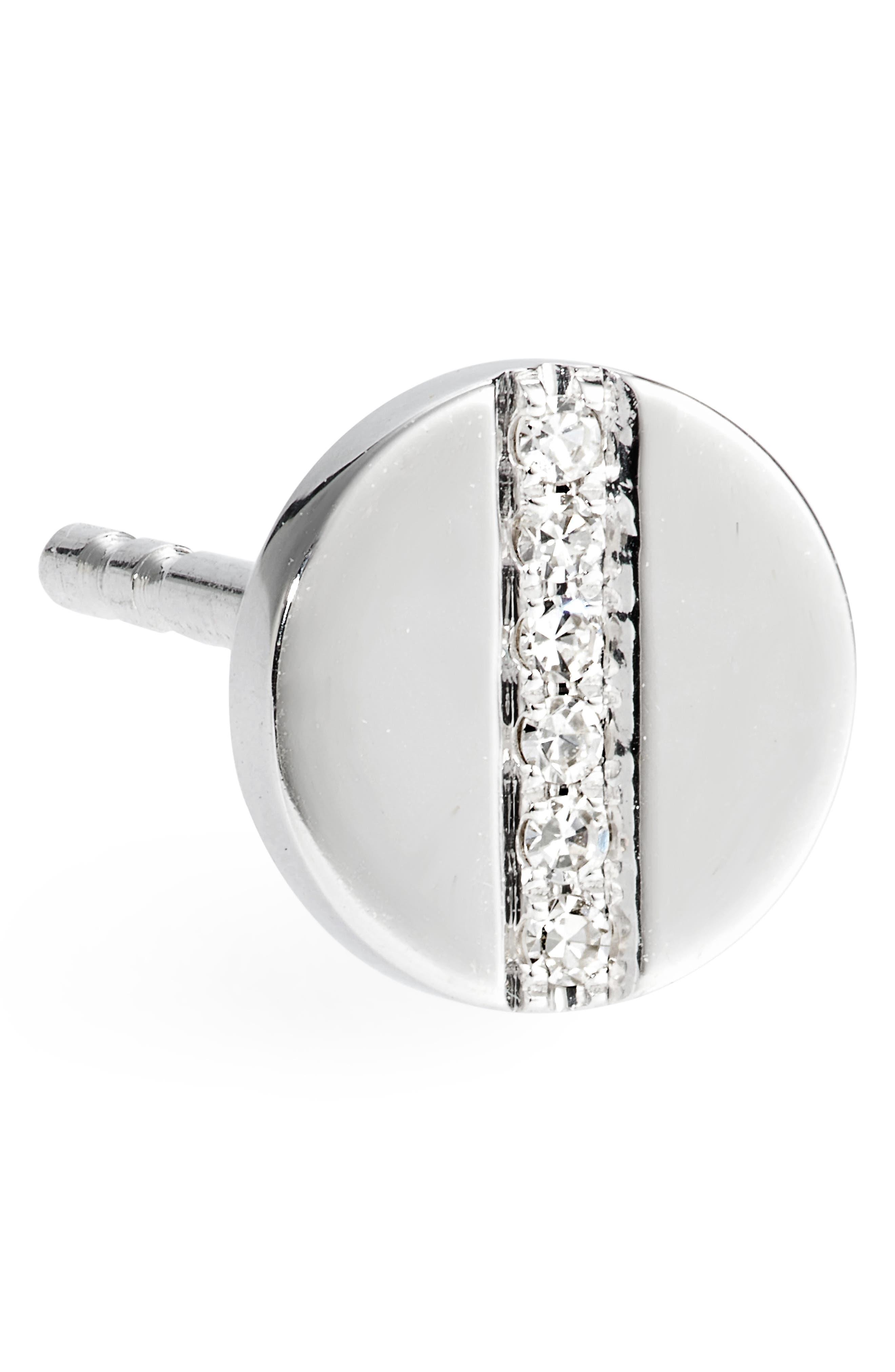 Screw Diamond Stud Earrings,                             Alternate thumbnail 5, color,                             White Gold