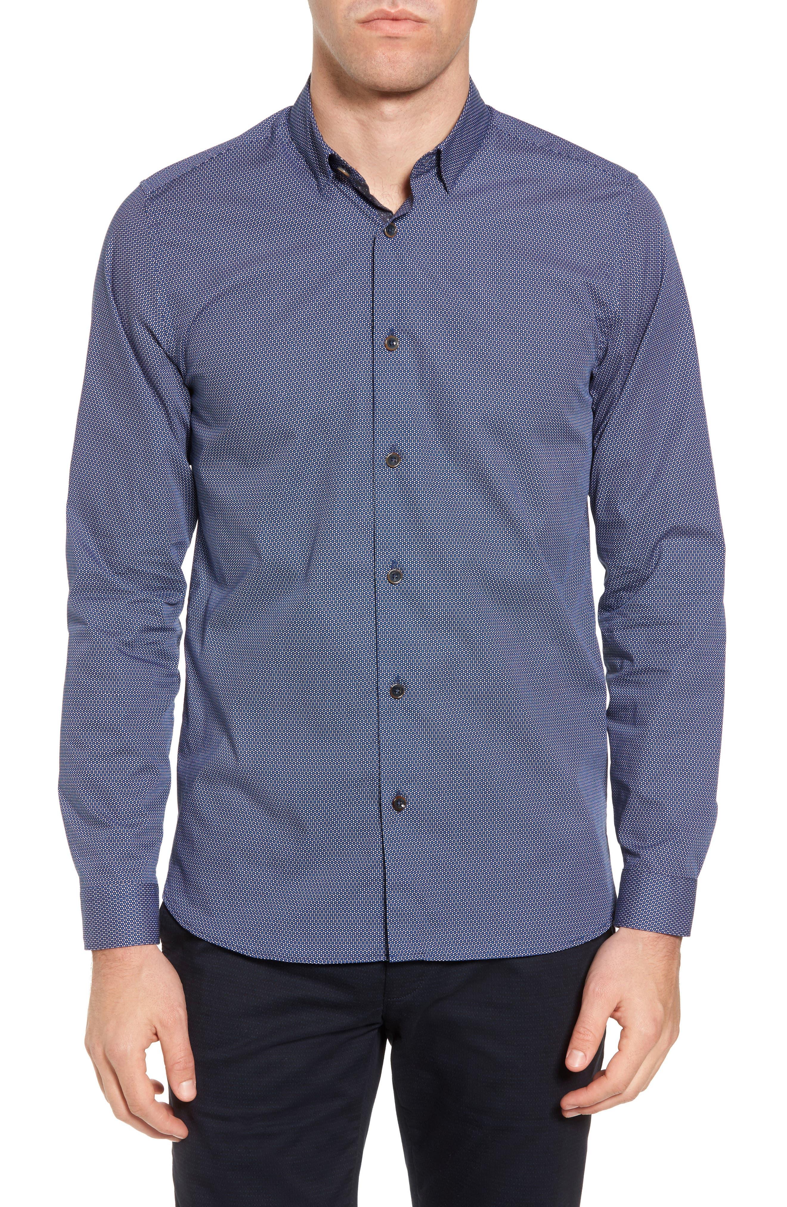 Merigeo Print Sport Shirt,                         Main,                         color, Navy