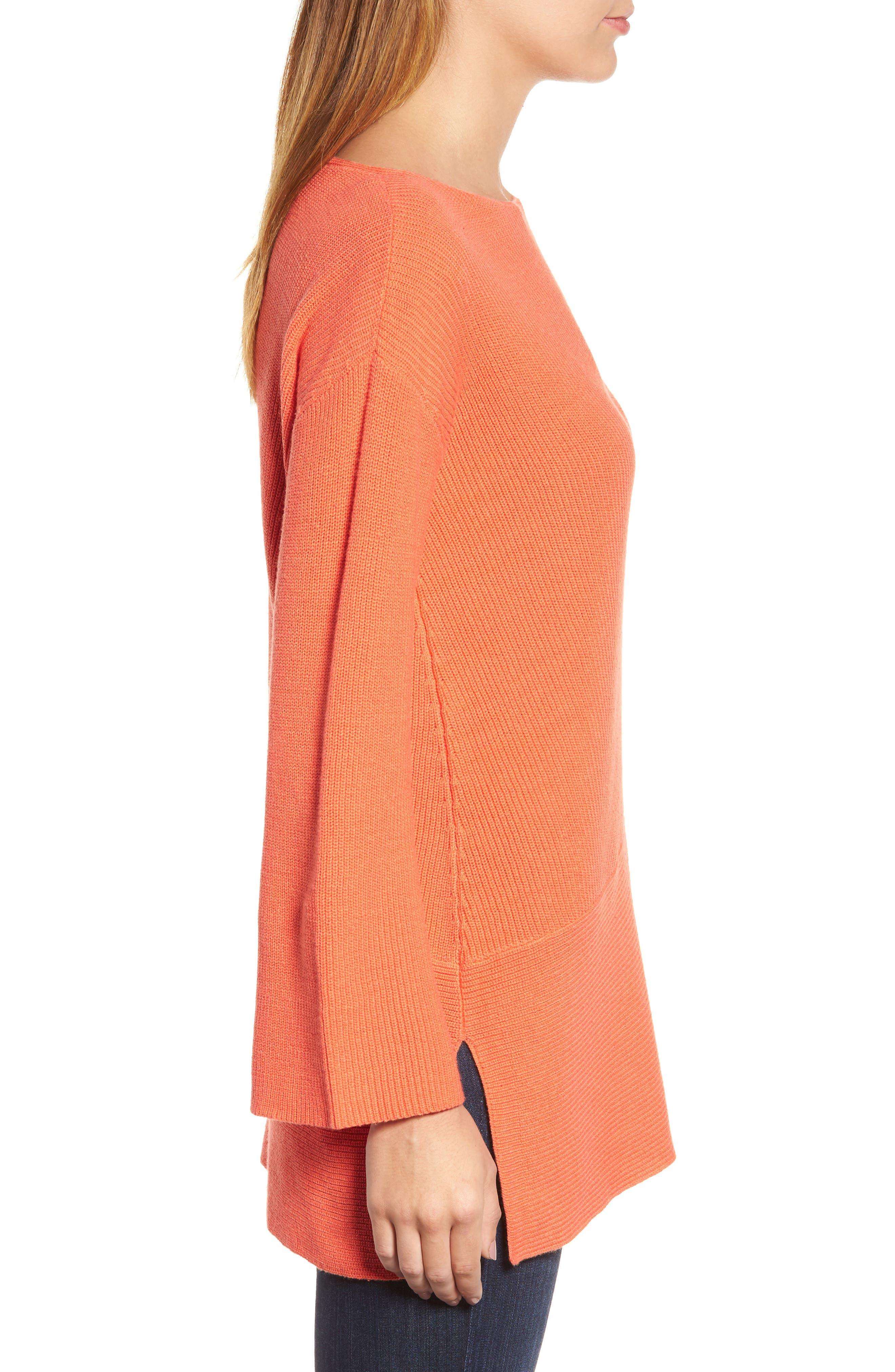 Ribbed Asymmetrical Hem Sweater,                             Alternate thumbnail 3, color,                             Cactus Rose