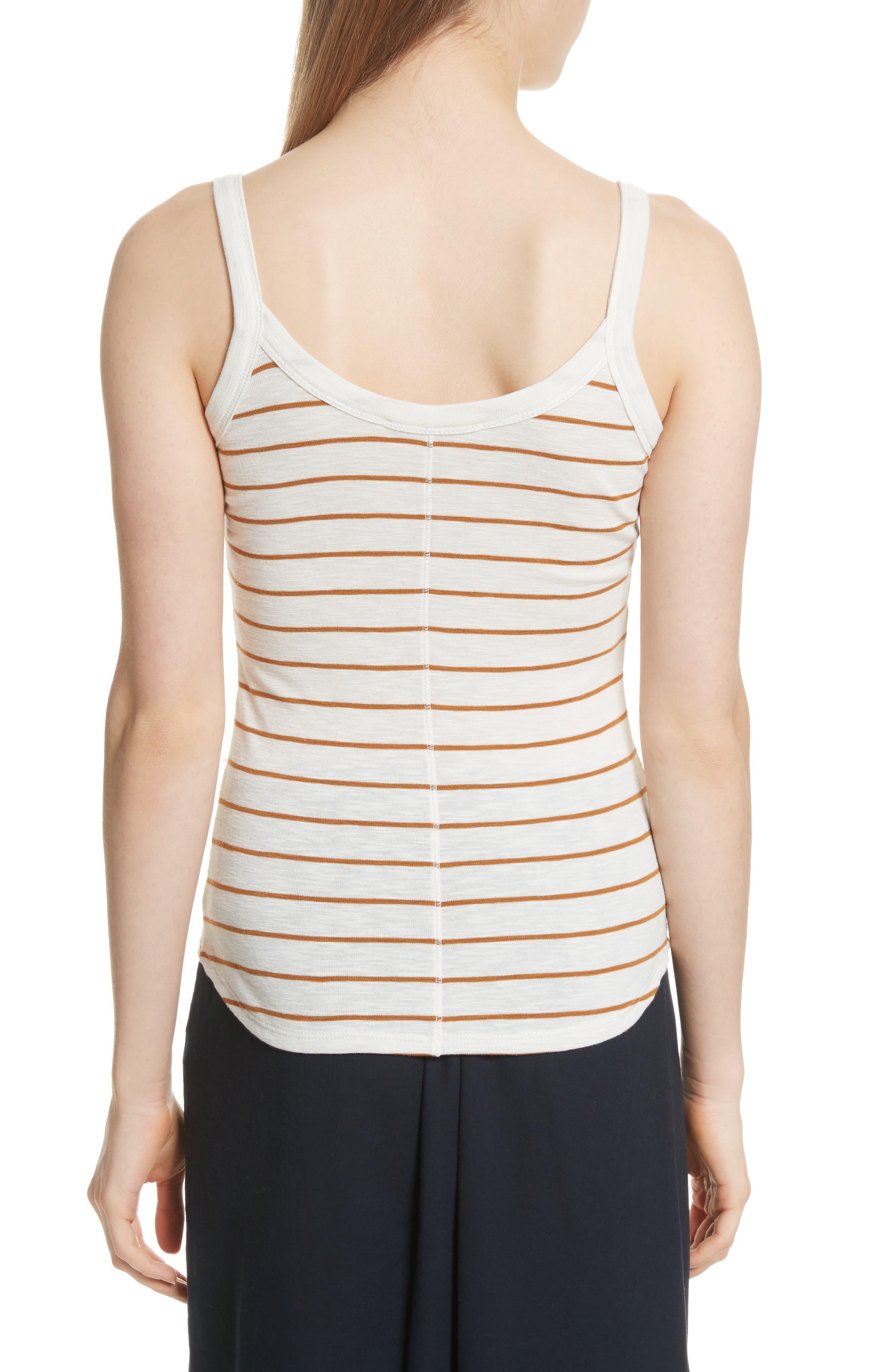 Scoop Neck Stripe Camisole,                             Alternate thumbnail 2, color,                             Vanilla/ Turmeric