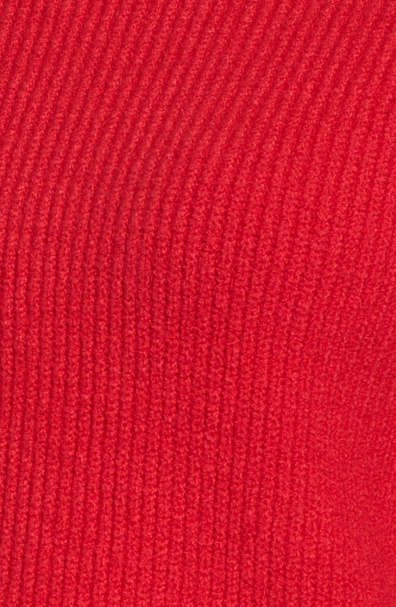 Wide Cuff Mock Neck Sweater,                             Alternate thumbnail 5, color,                             Patriot Red