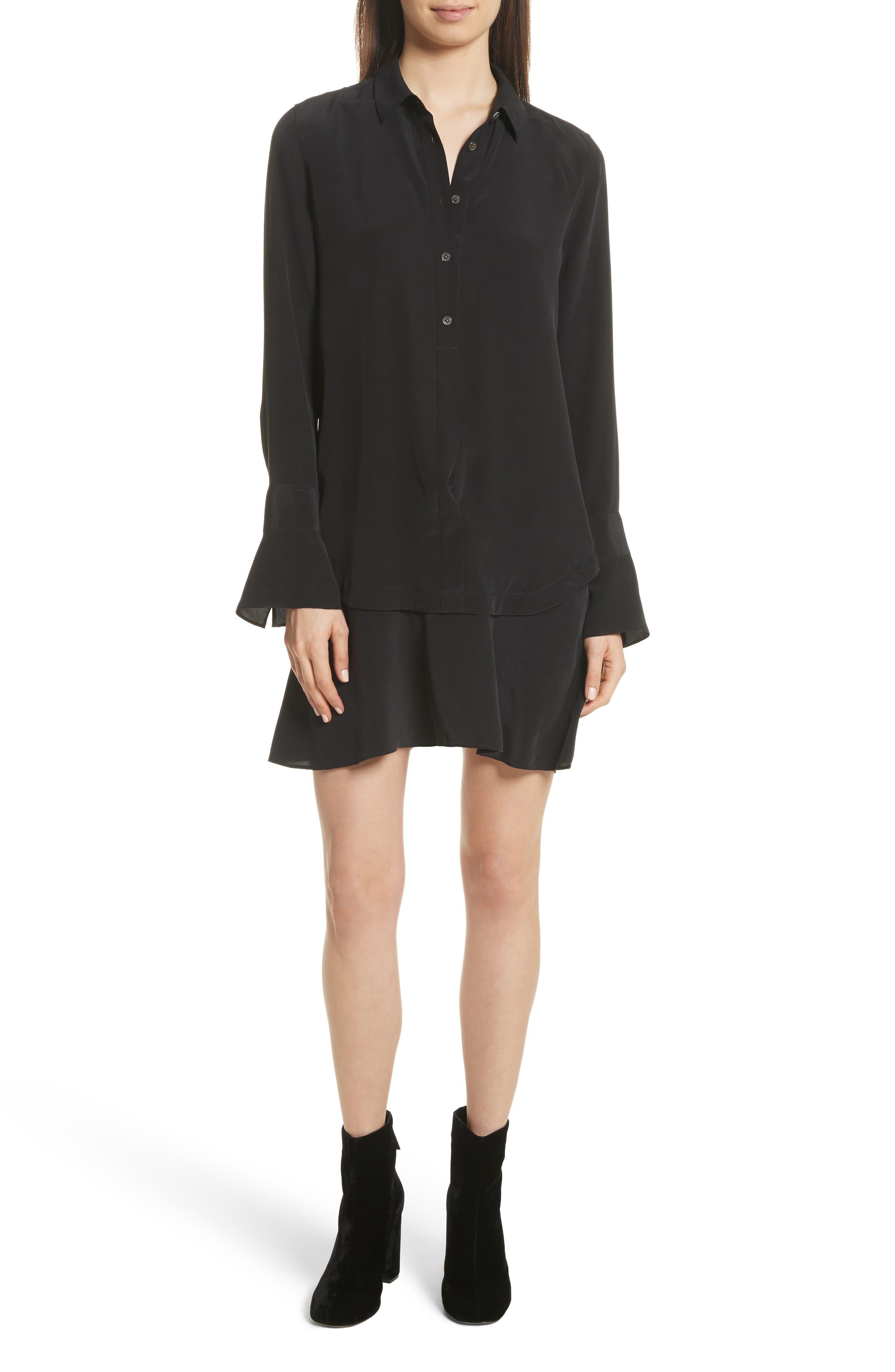 Daphne Silk Shirtdress,                         Main,                         color, True Black