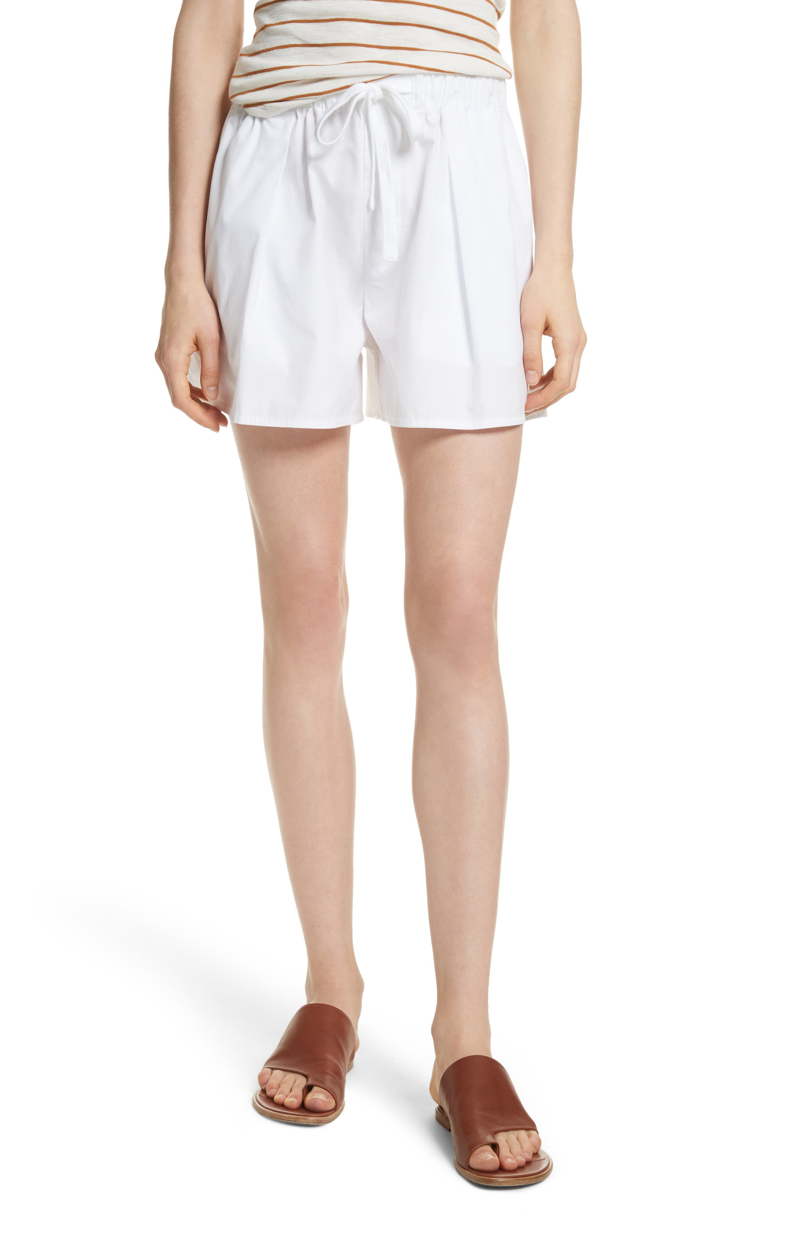 Drawstring Cotton Shorts,                         Main,                         color, White