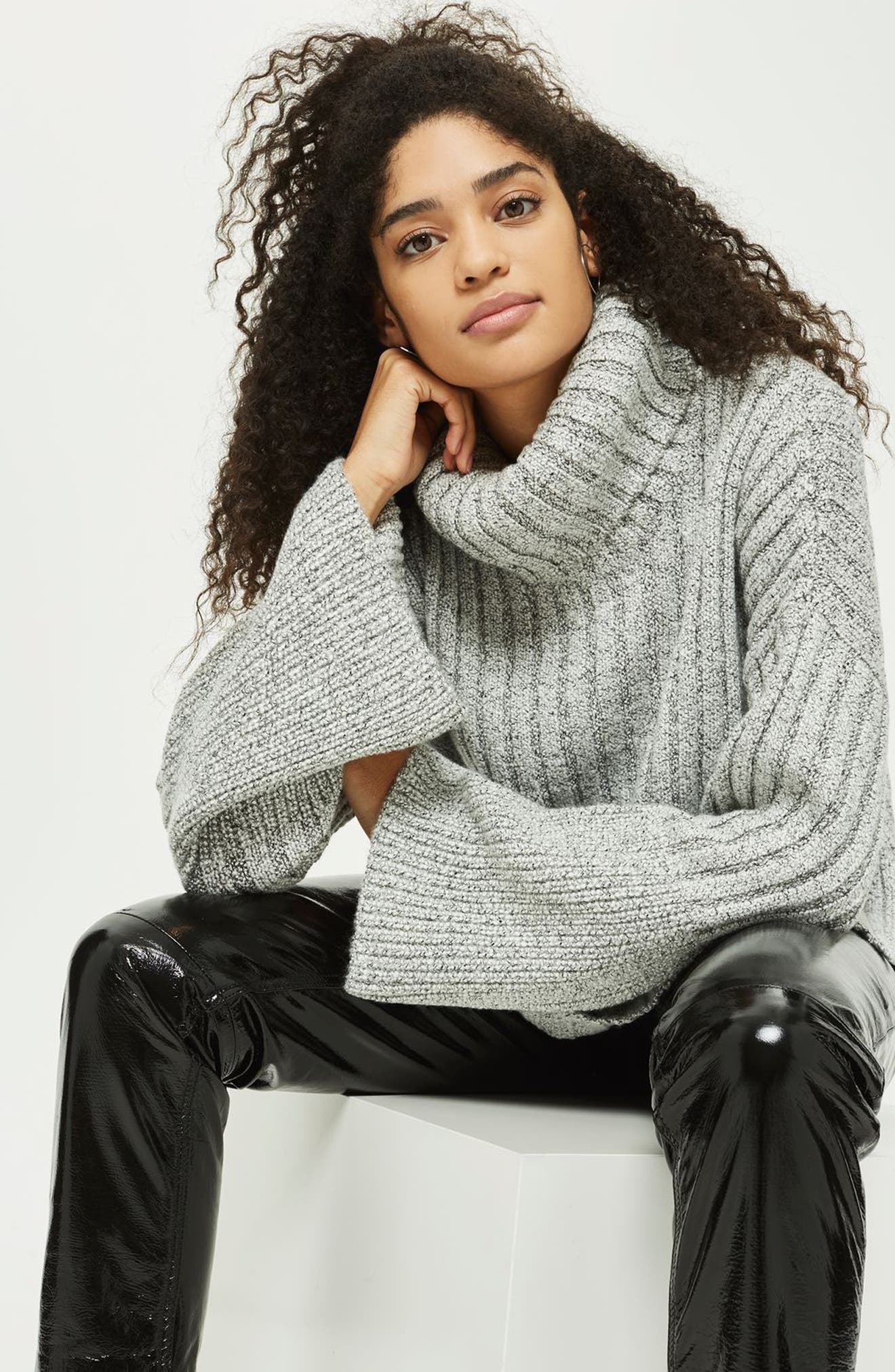 Flare Cuff Turtleneck Sweater,                             Alternate thumbnail 3, color,                             Grey