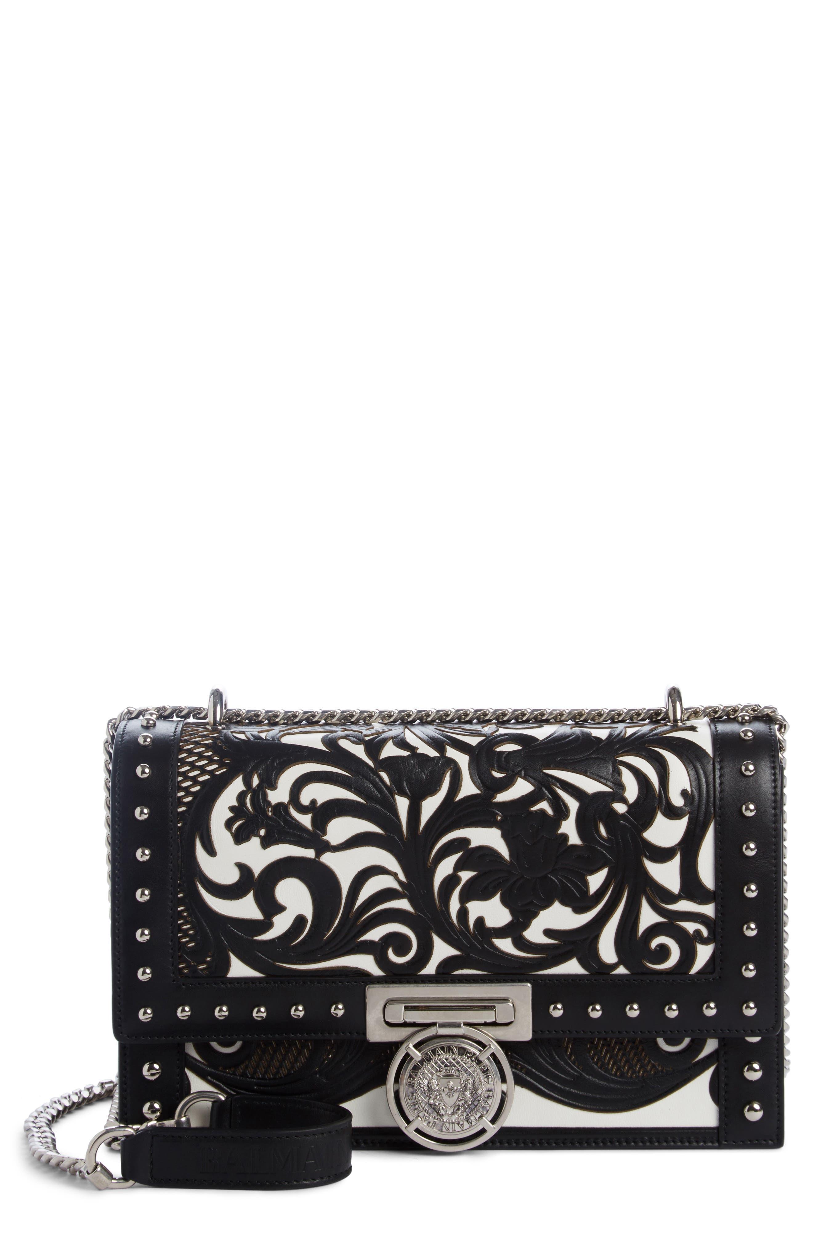 Box Laser Cut Floral Leather Shoulder Bag,                             Main thumbnail 1, color,                             Noir/ Blanc