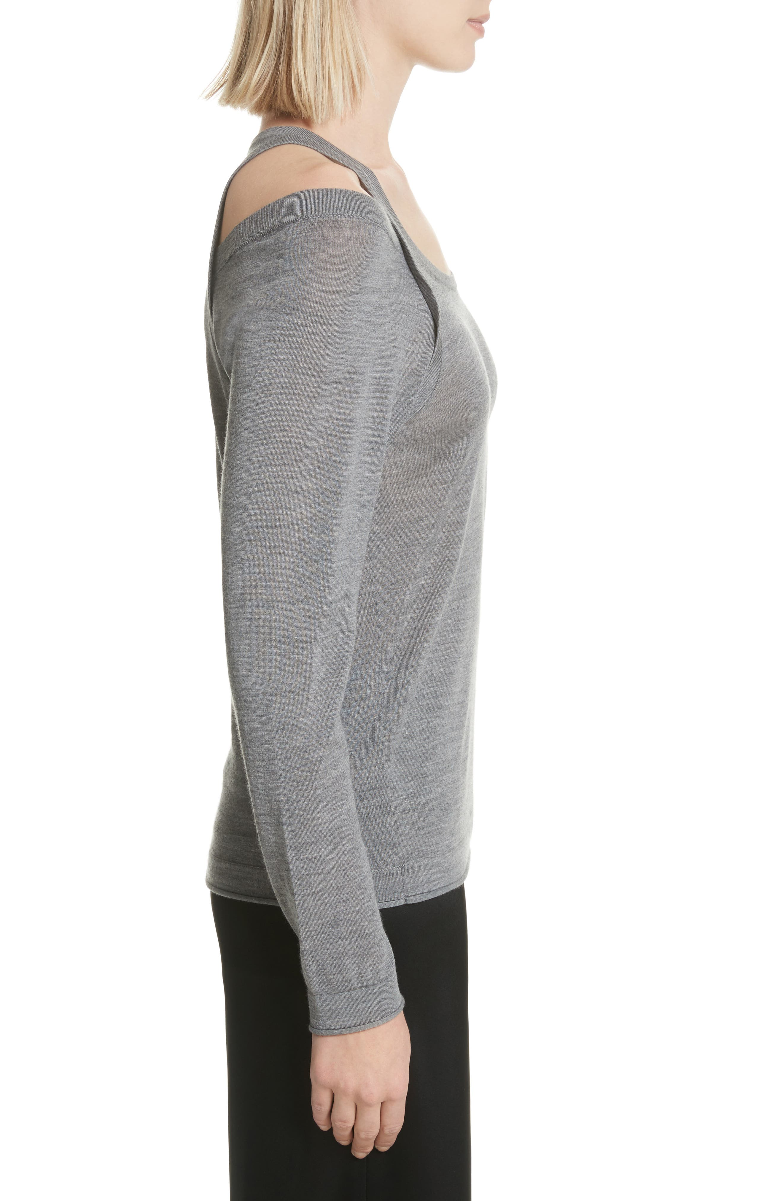 Wash & Go Cold Shoulder Merino Wool Sweater,                             Alternate thumbnail 3, color,                             Heather Grey