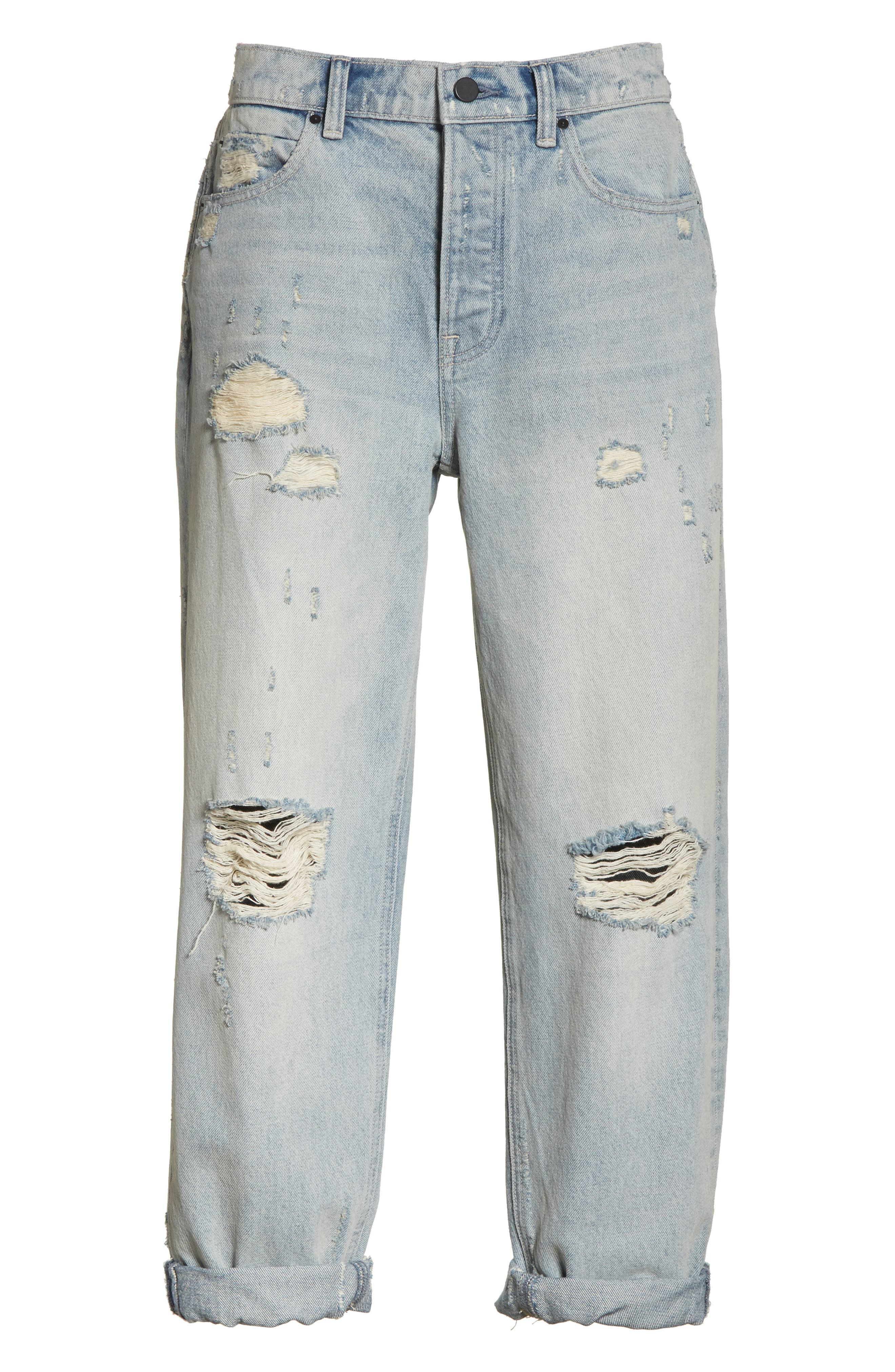 Distressed Boyfriend Jeans,                             Alternate thumbnail 6, color,                             Vintage Bleach