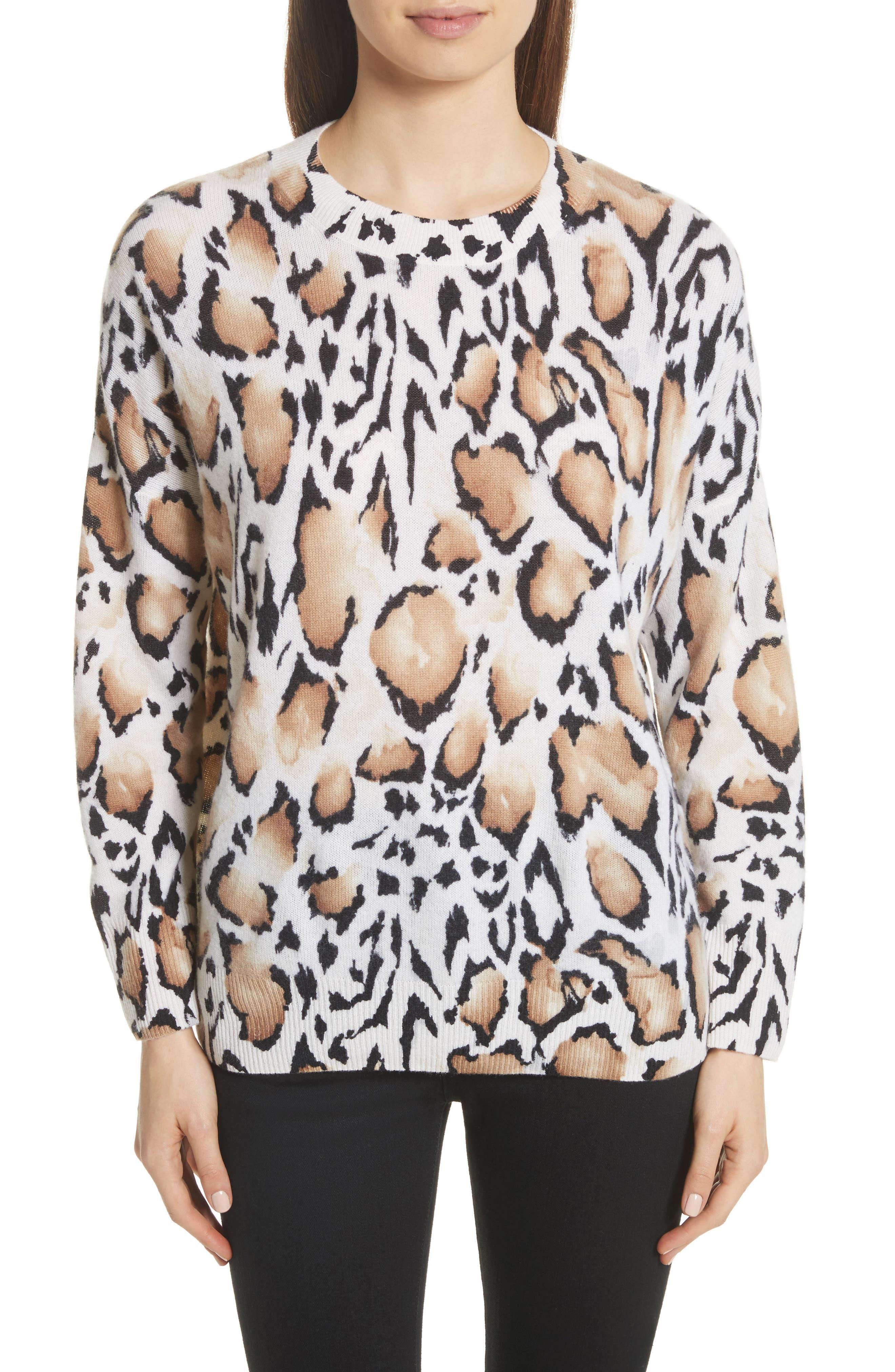 Melanie Clouded Leopard Print Cashmere Sweater,                         Main,                         color, Ivory Multi