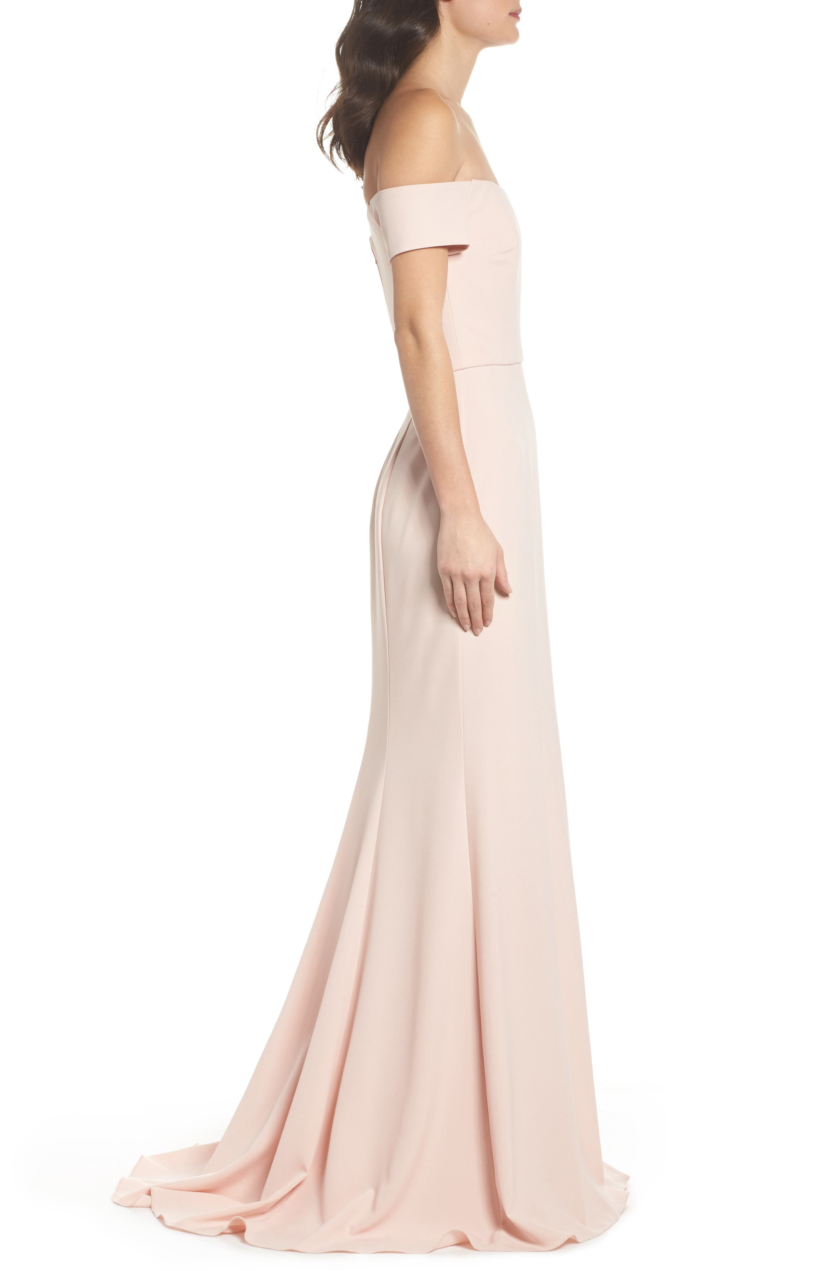 Off the Shoulder Crepe Gown,                             Alternate thumbnail 3, color,                             Blush