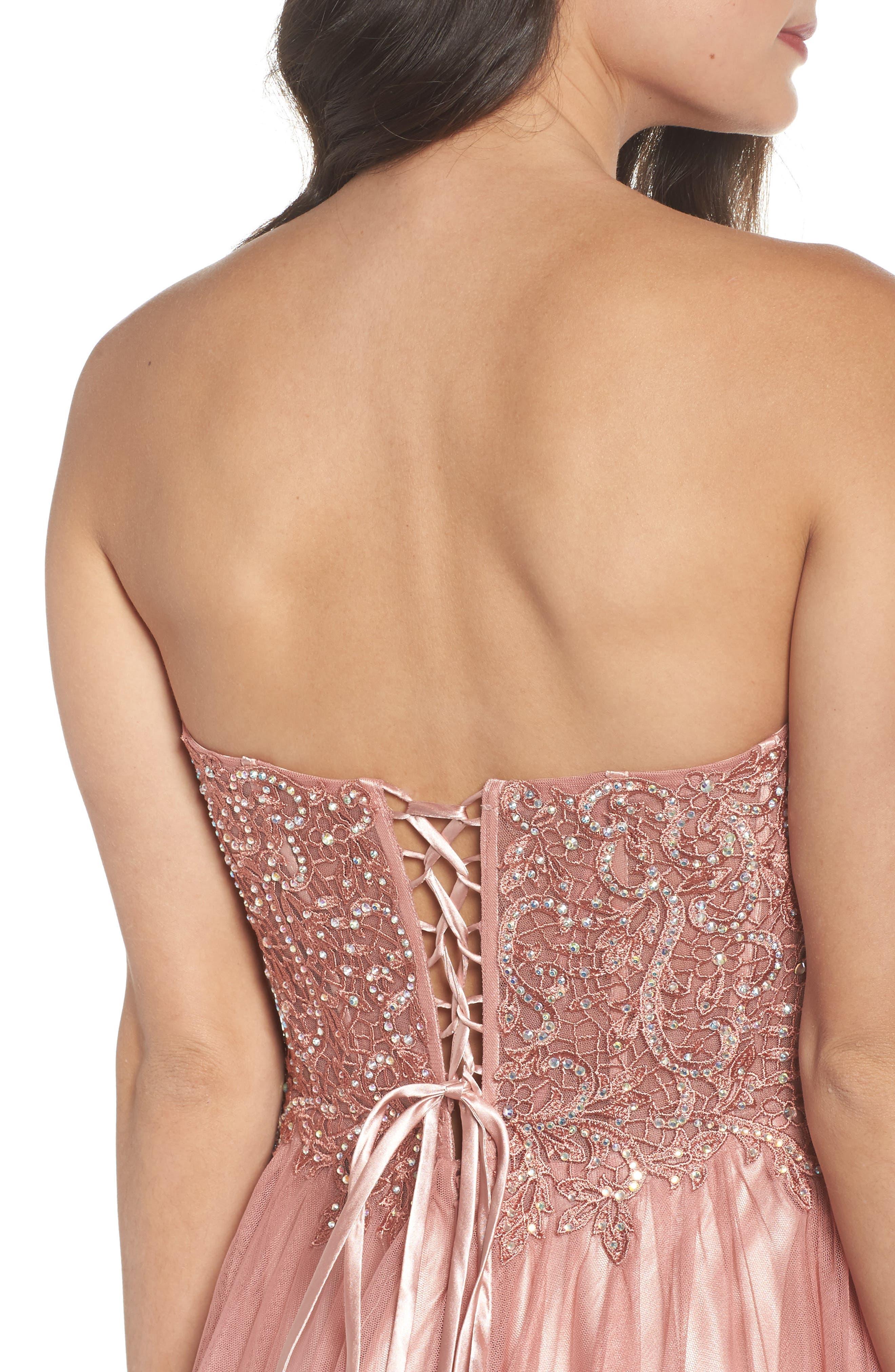 Embellished Corset Ballgown,                             Alternate thumbnail 4, color,                             Rose