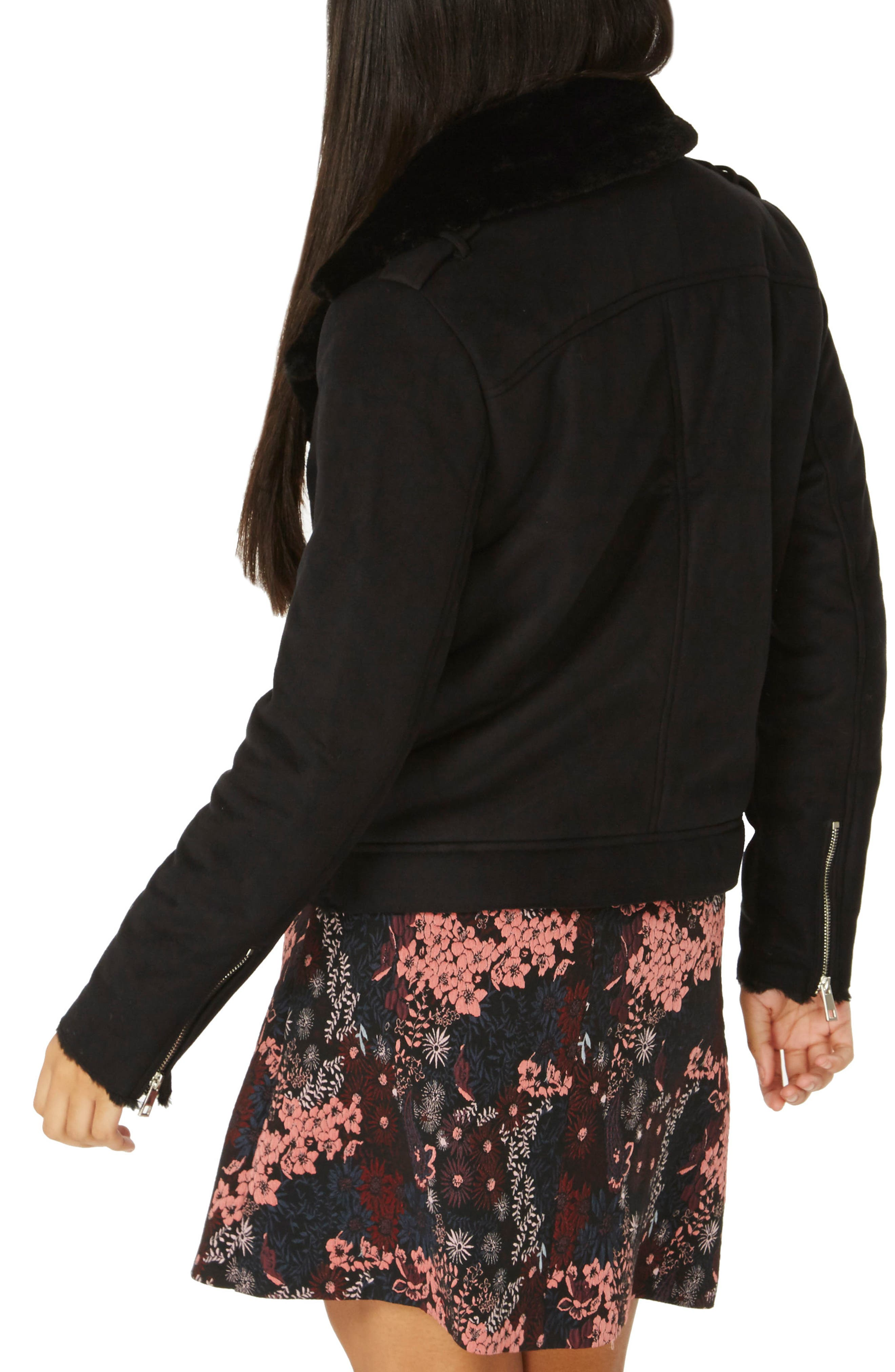 Alternate Image 2  - Dorothy Perkins Faux Suede Biker Jacket with Faux Shearling Trim