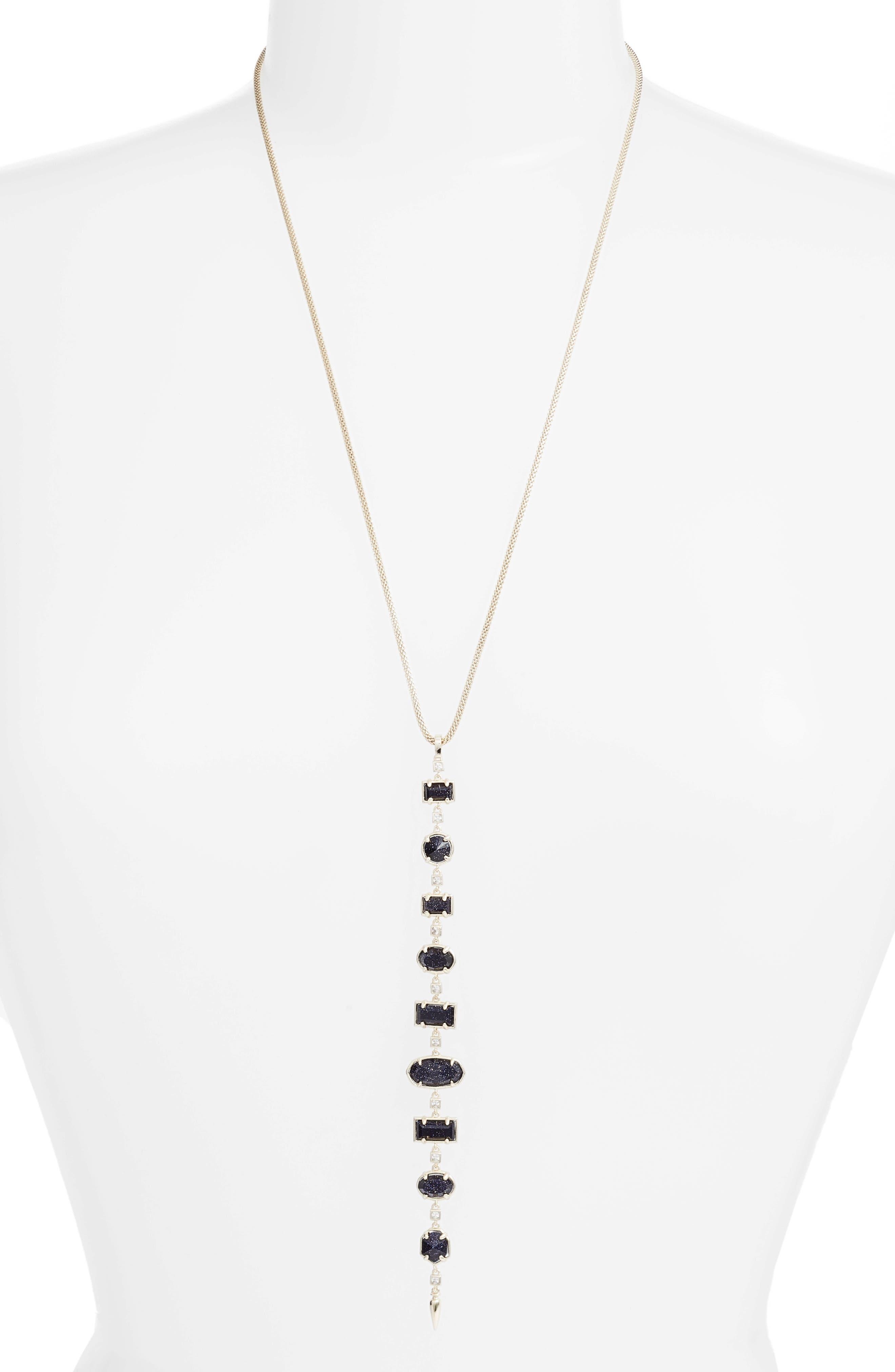 Braxton Stone Drop Pendant Necklace,                         Main,                         color, Blue/ Gold