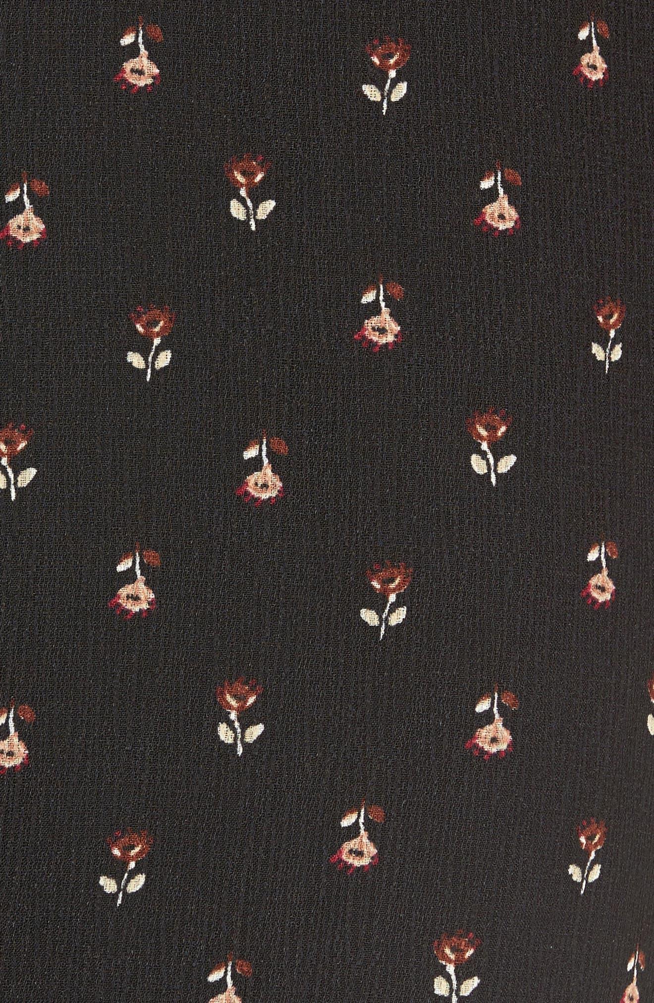 Scalloped Waist Wide Leg Crop Pants,                             Alternate thumbnail 5, color,                             Black Mini Floral