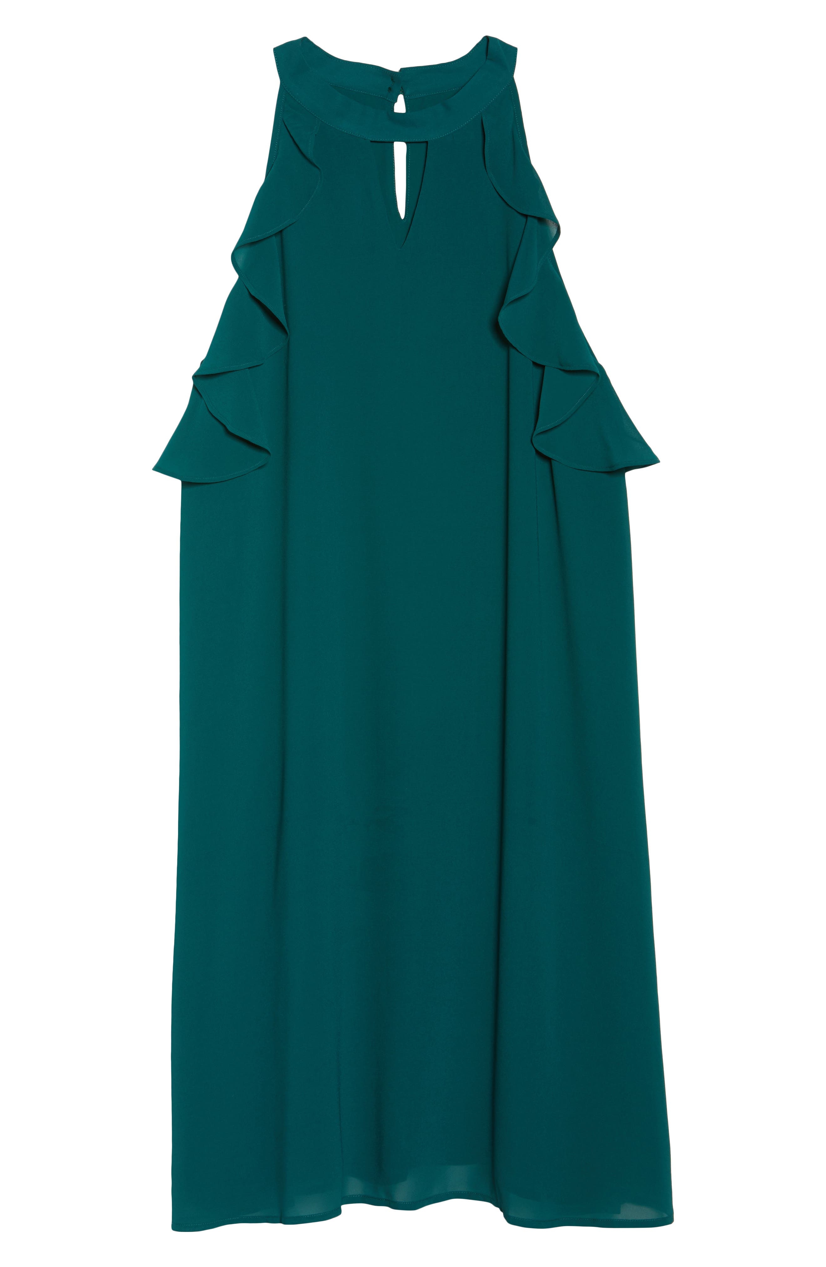 Halter Ruffle Trapeze Dress,                             Alternate thumbnail 6, color,                             Forest Green