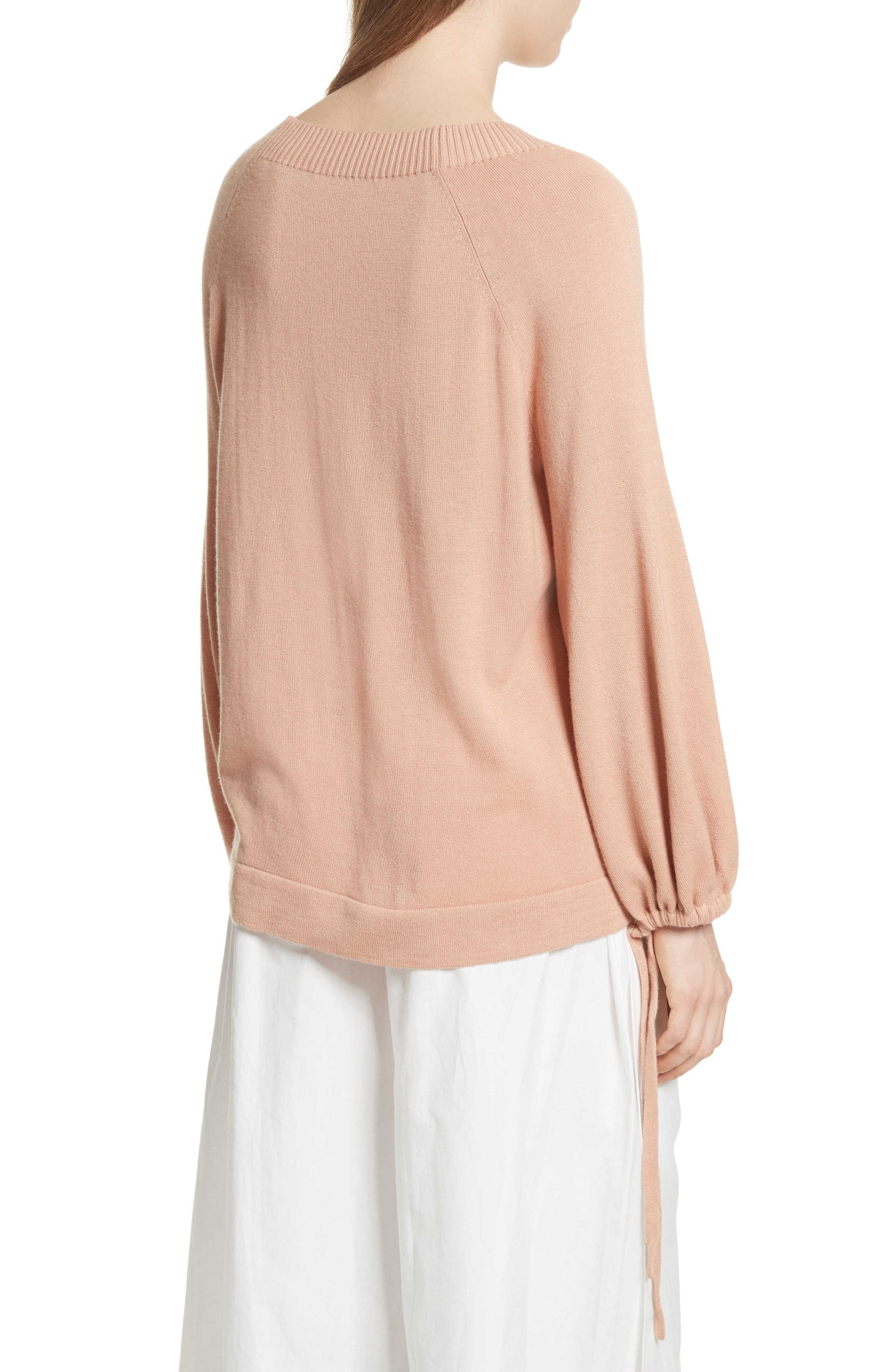 Scrunch Sleeve Cashmere Sweater,                             Alternate thumbnail 2, color,                             Blush