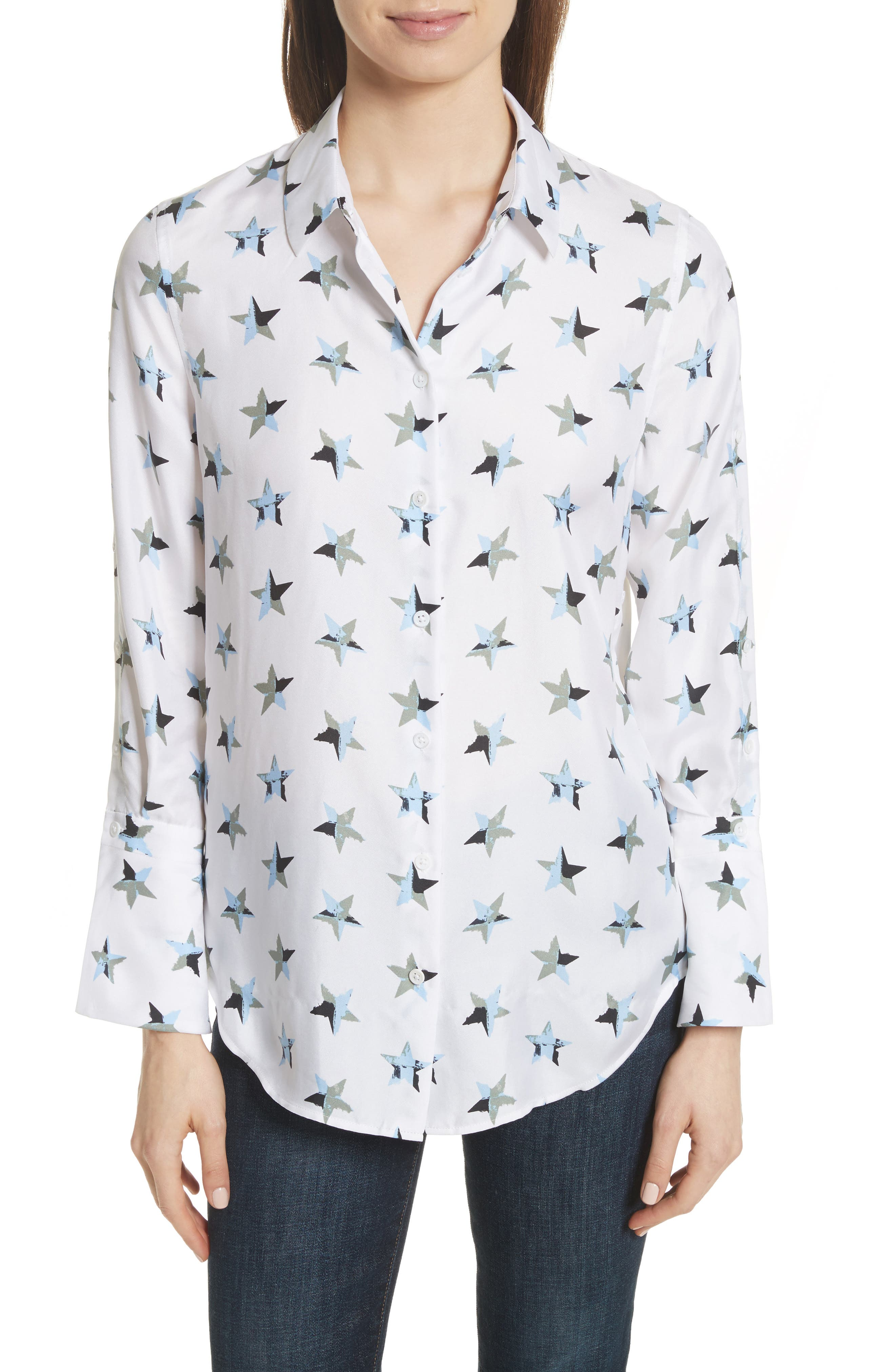 Rossi Button Detail Star Print Silk Shirt,                             Main thumbnail 1, color,                             Bright White Multi