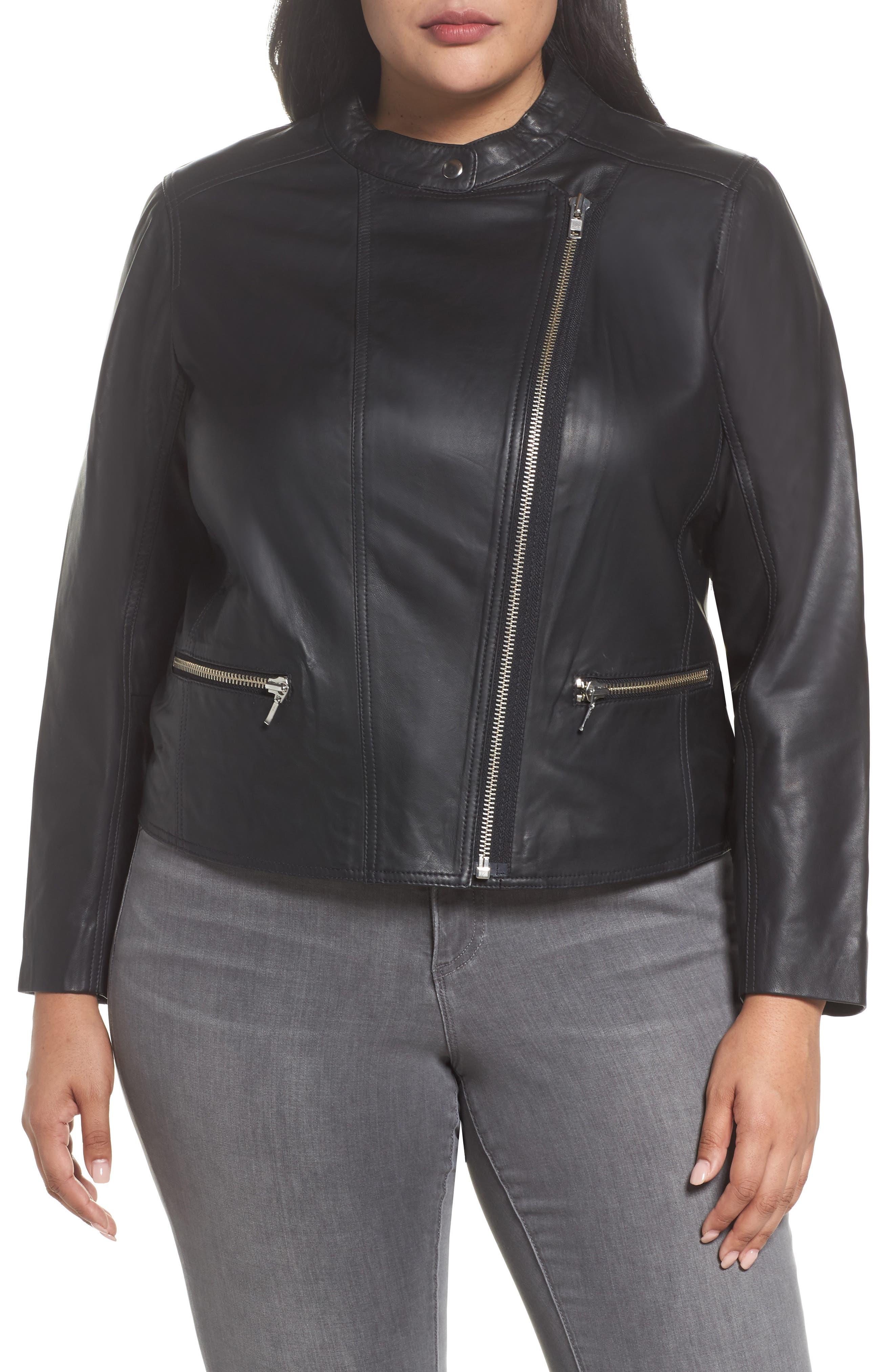 Alternate Image 4  - Halogen® Leather Moto Jacket (Plus Size)
