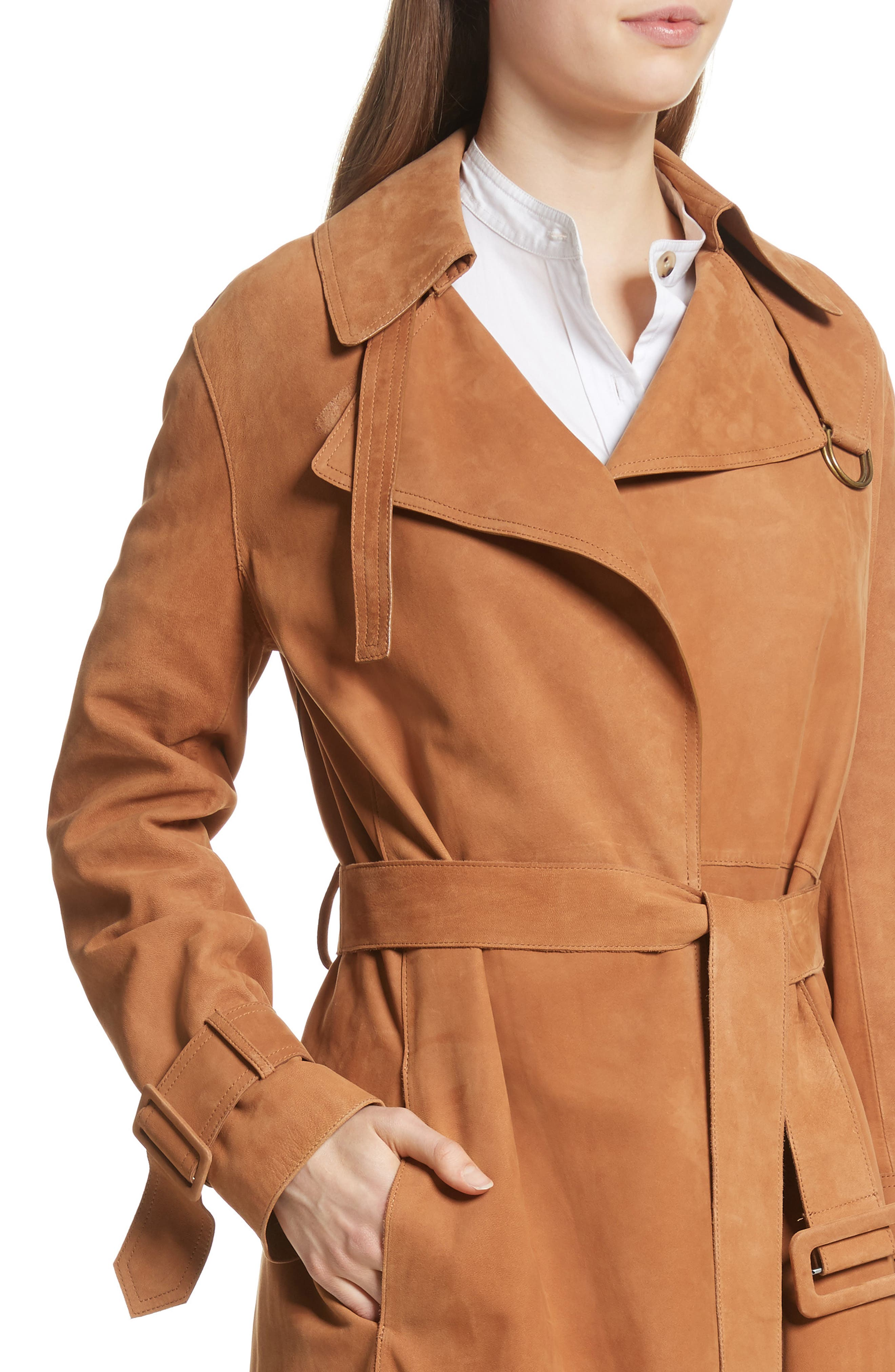 Suede Trench Coat,                             Alternate thumbnail 4, color,                             Deep Saddle
