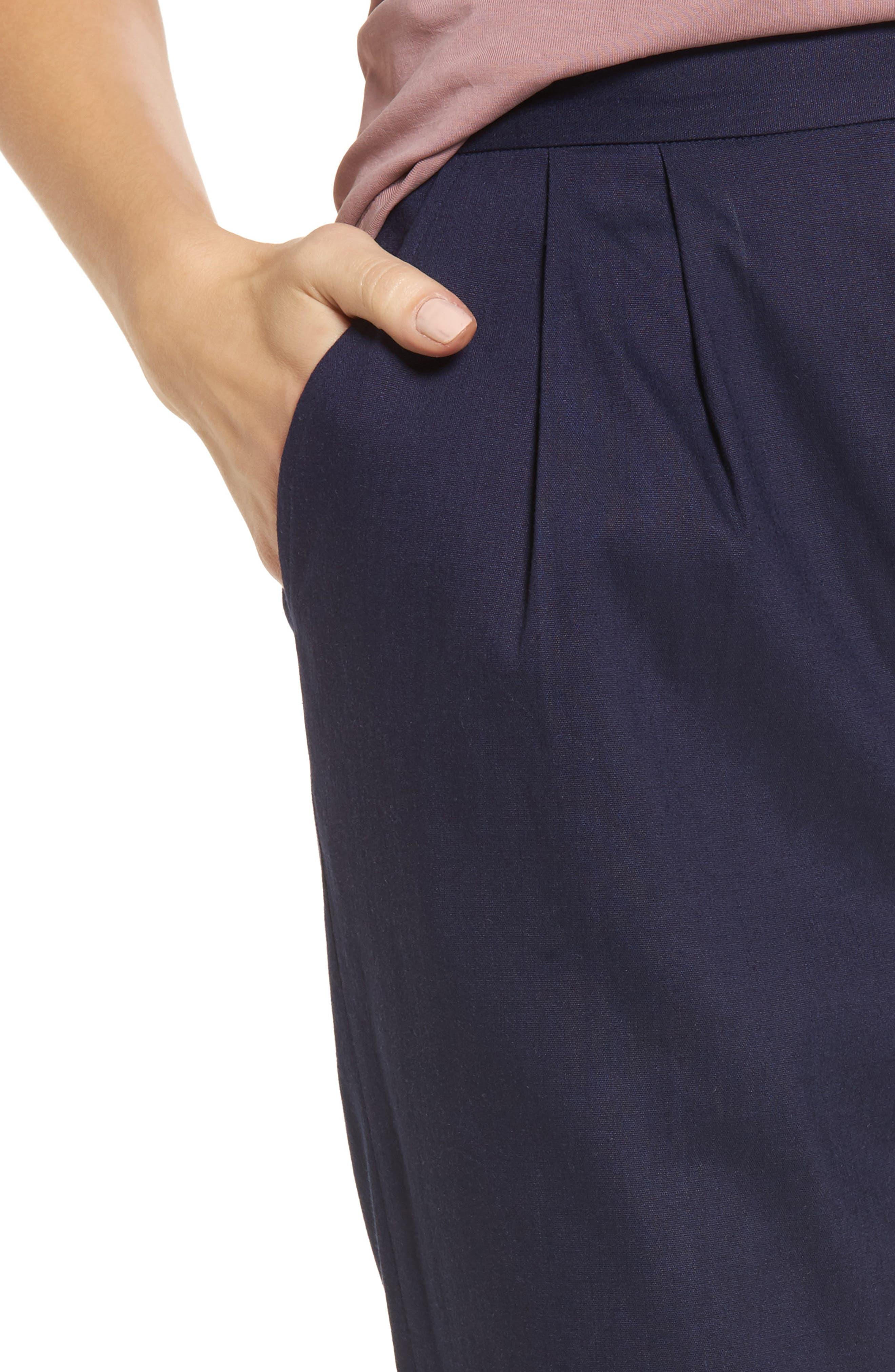 Pleat Front Crop Pants,                             Alternate thumbnail 4, color,                             Navy Evening